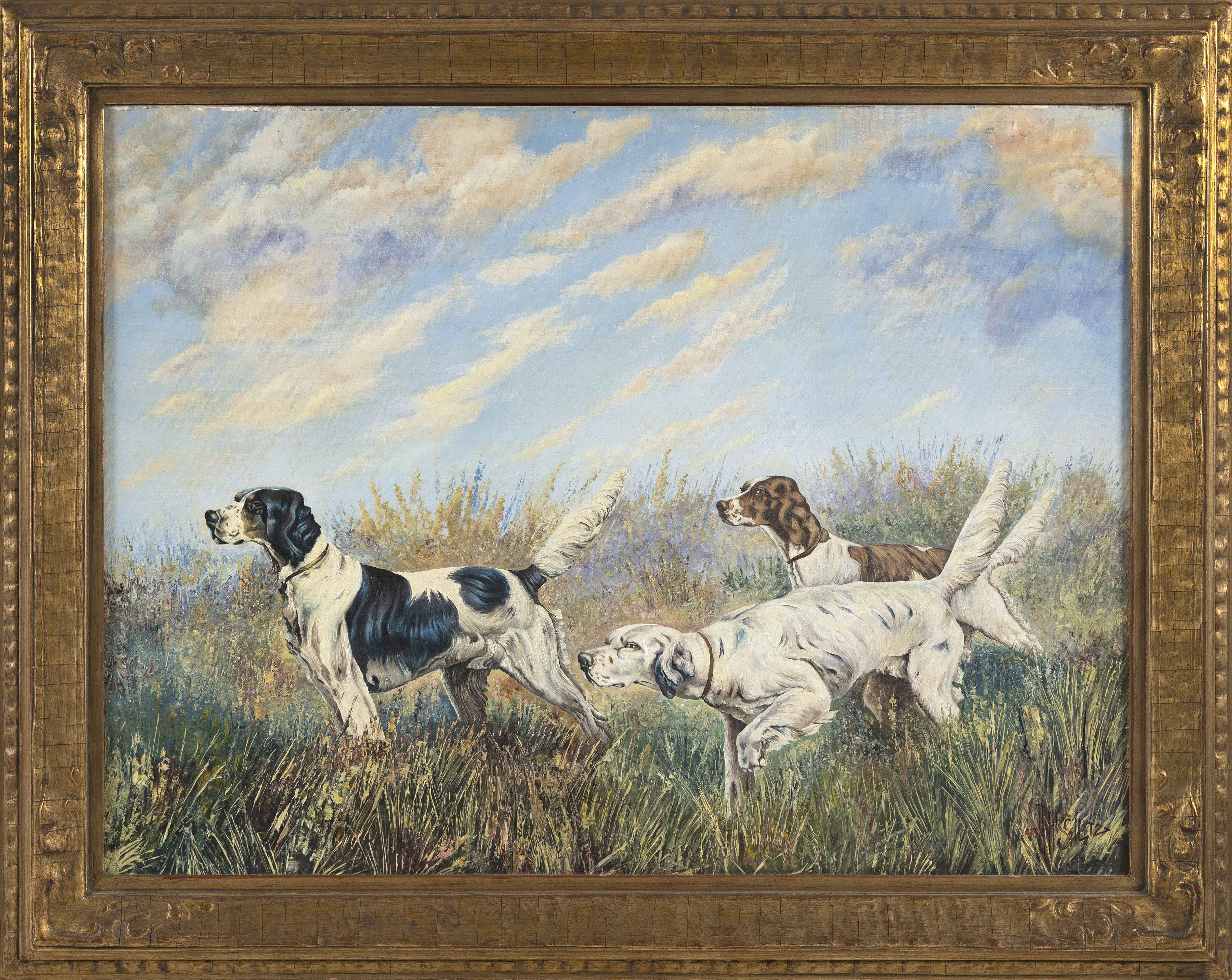 PAINTING OF THREE HUNTING DOGS Dated 1943 Oil on artist's board, 18