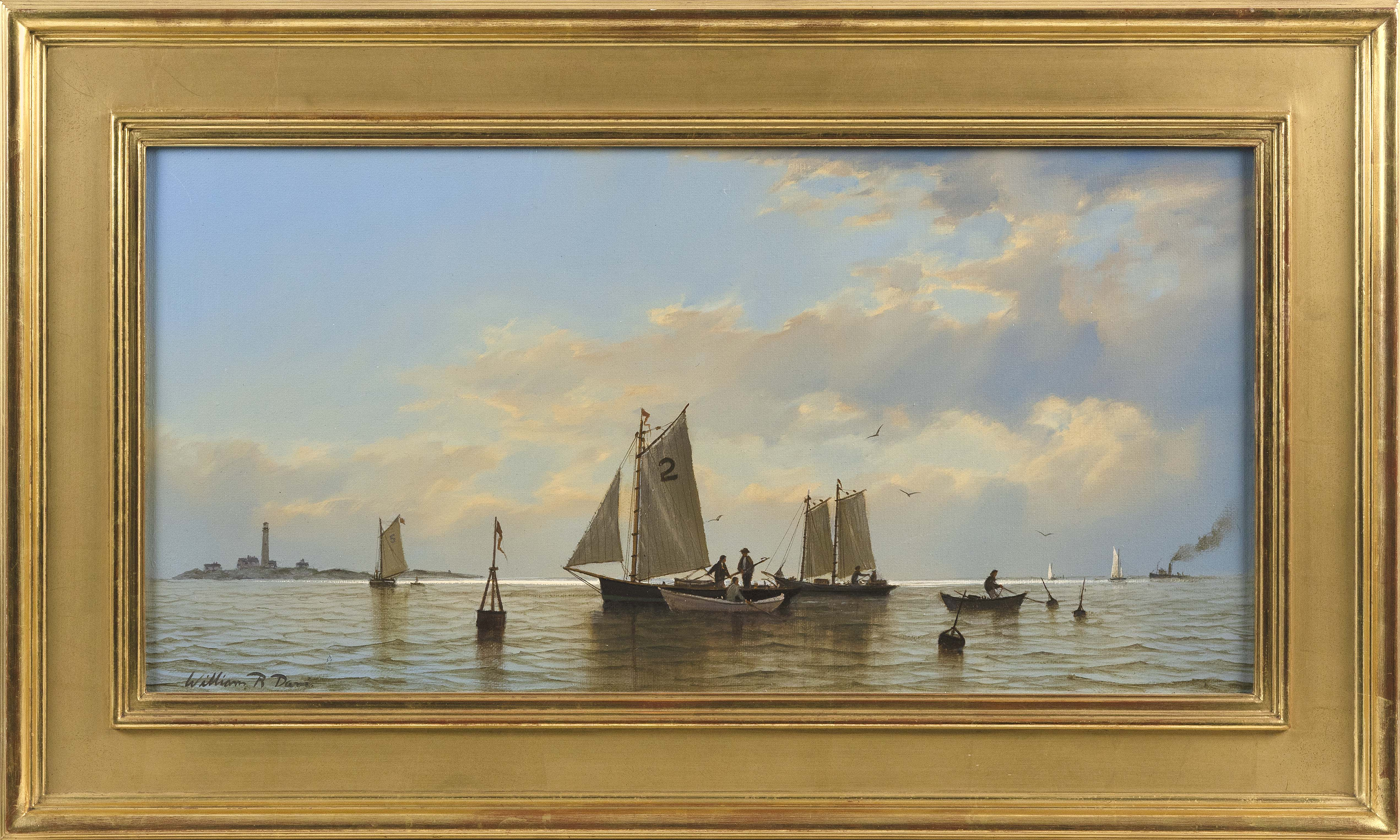 "WILLIAM R. DAVIS (Massachusetts, Contemporary), ""Fisherman off Boon Island""., Oil on canvas, 12"" x 24"". Framed 18"" x 30""."