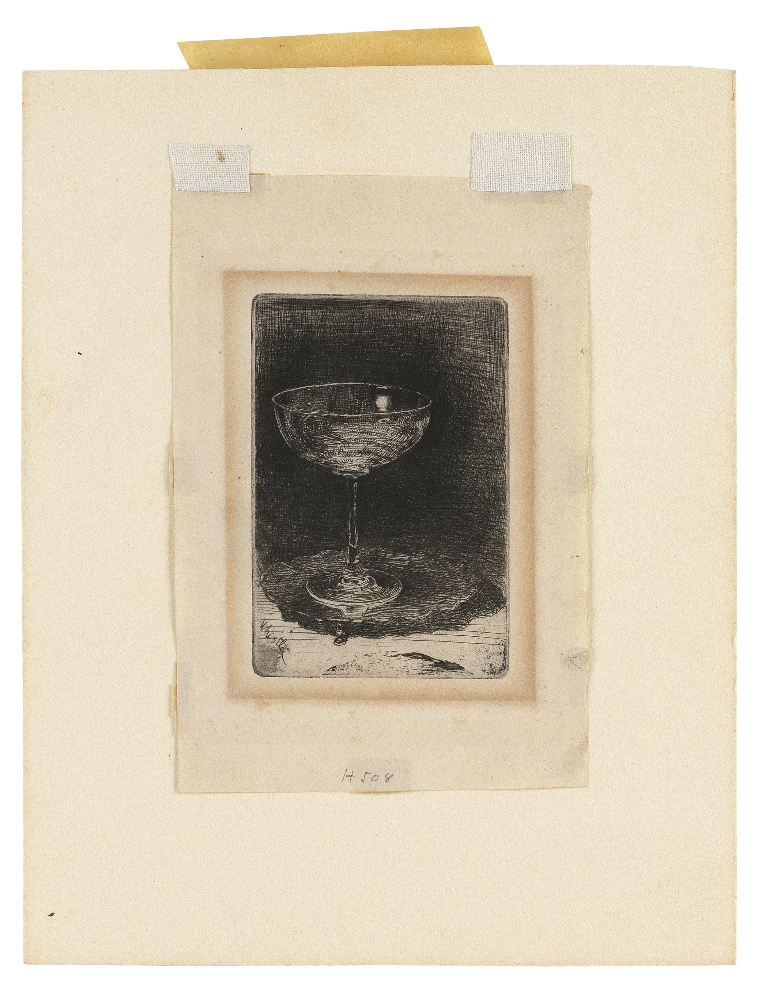 "JAMES ABBOTT MCNEILL WHISTLER (1834-1903), ""The Wine-Glass"", Etching, 1859, 5.25"" x 3.25"""