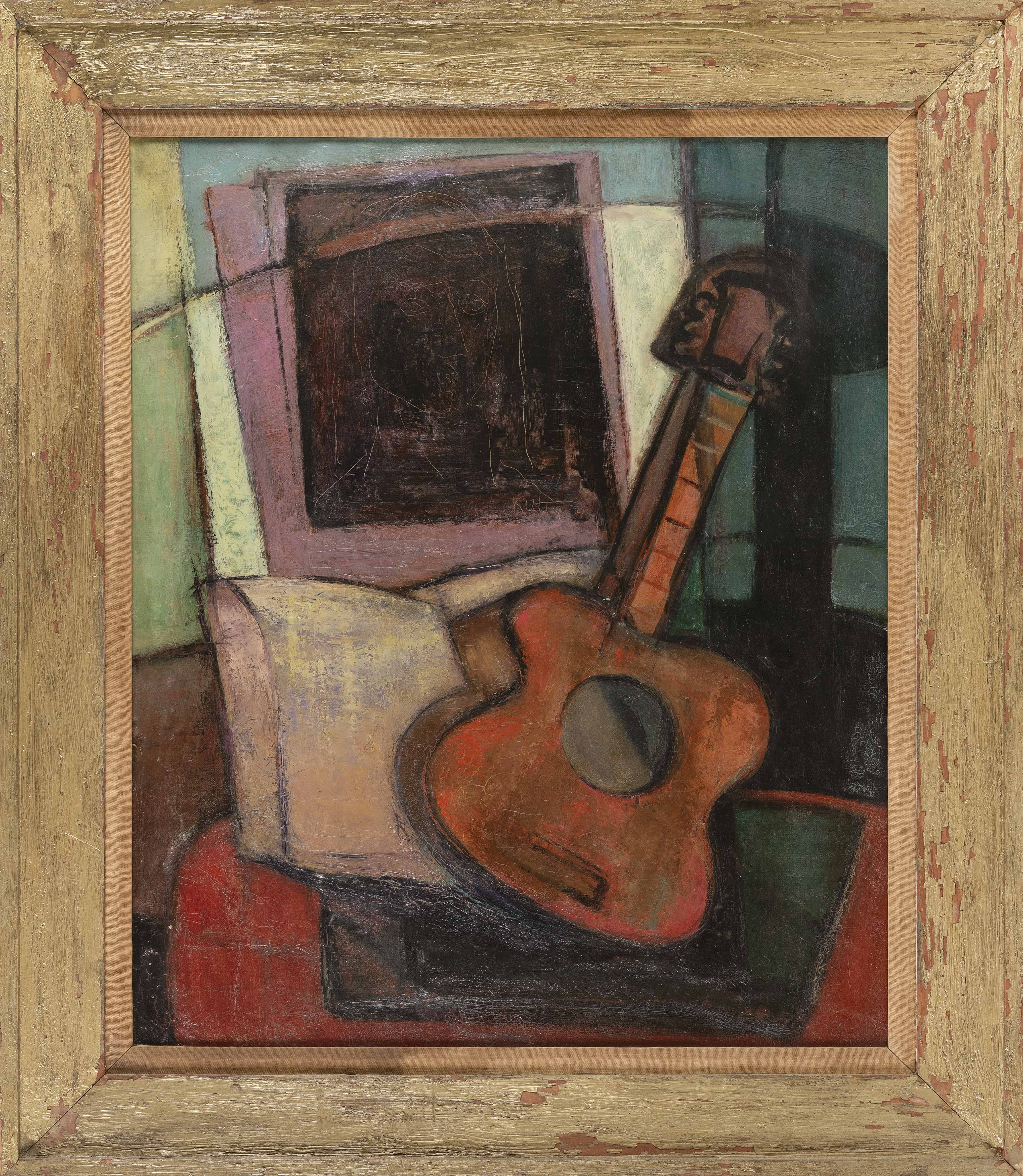 LINY KULL (Switzerland, 1919-2007), Interior scene with guitar and painting., Oil on canvas, 34