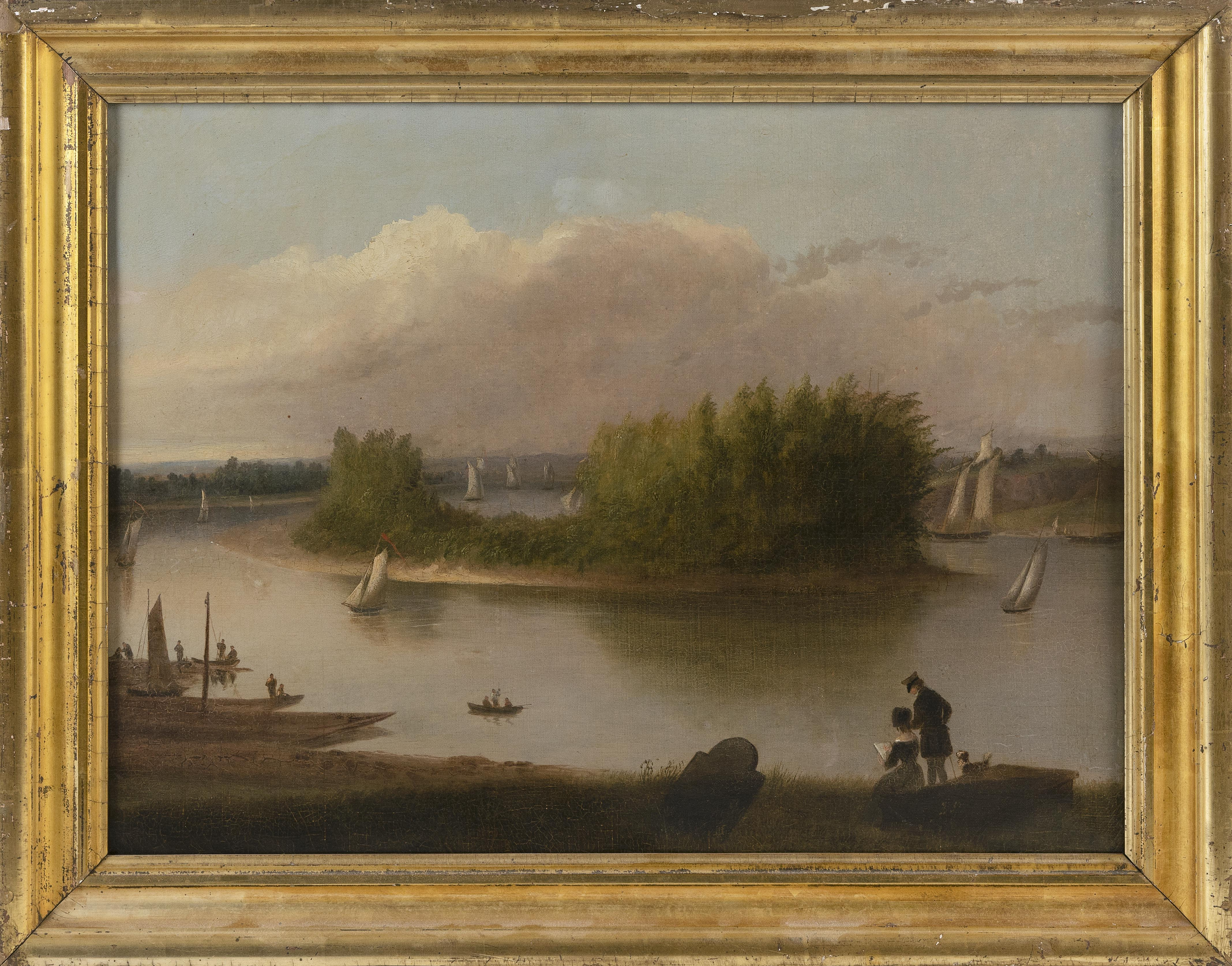 """ALVAN FISHER (Massachusetts, 1792-1863), """"View of the Connecticut River at Middletown""""., Oil on canvas, 18"""" x 24"""". Framed 21.75"""". 27.75""""."""