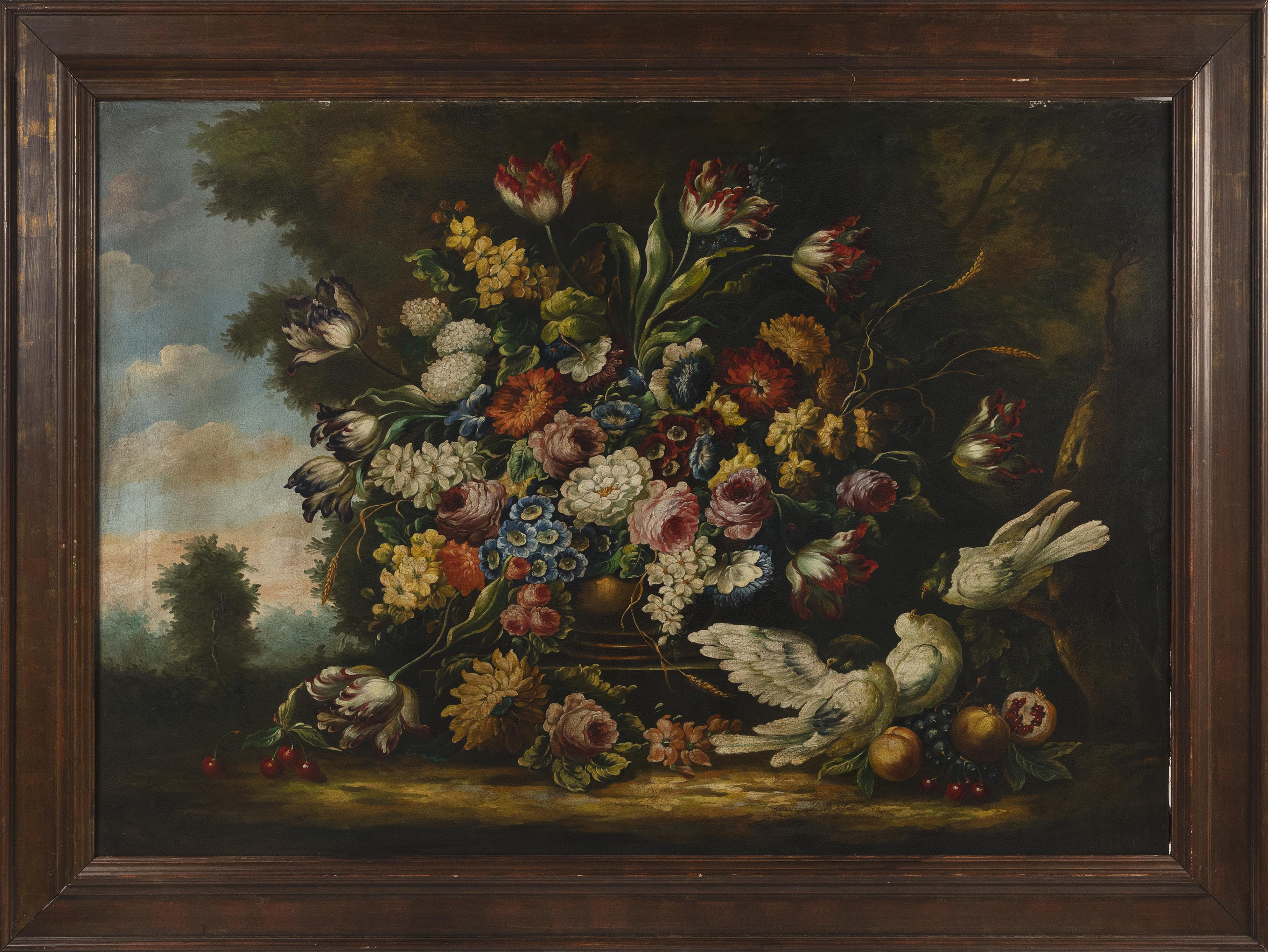 DUTCH SCHOOL (Early 20th Century,), Oppulent floral still life with birds., Oil on canvas, 39