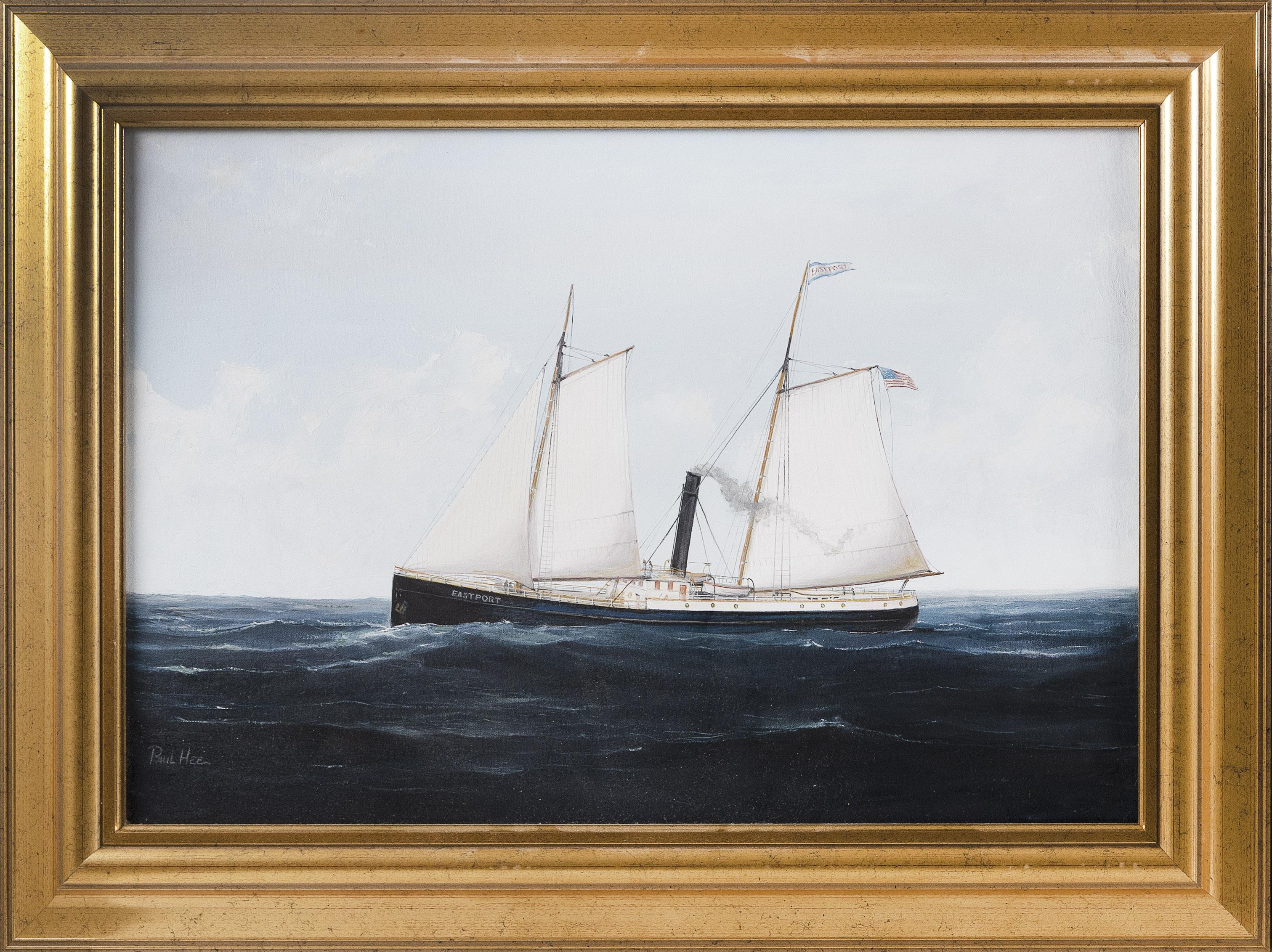 PAUL R. HEE (North Carolina, d. 2011), Portrait of a steam-sail ship., Oil on canvas, 18