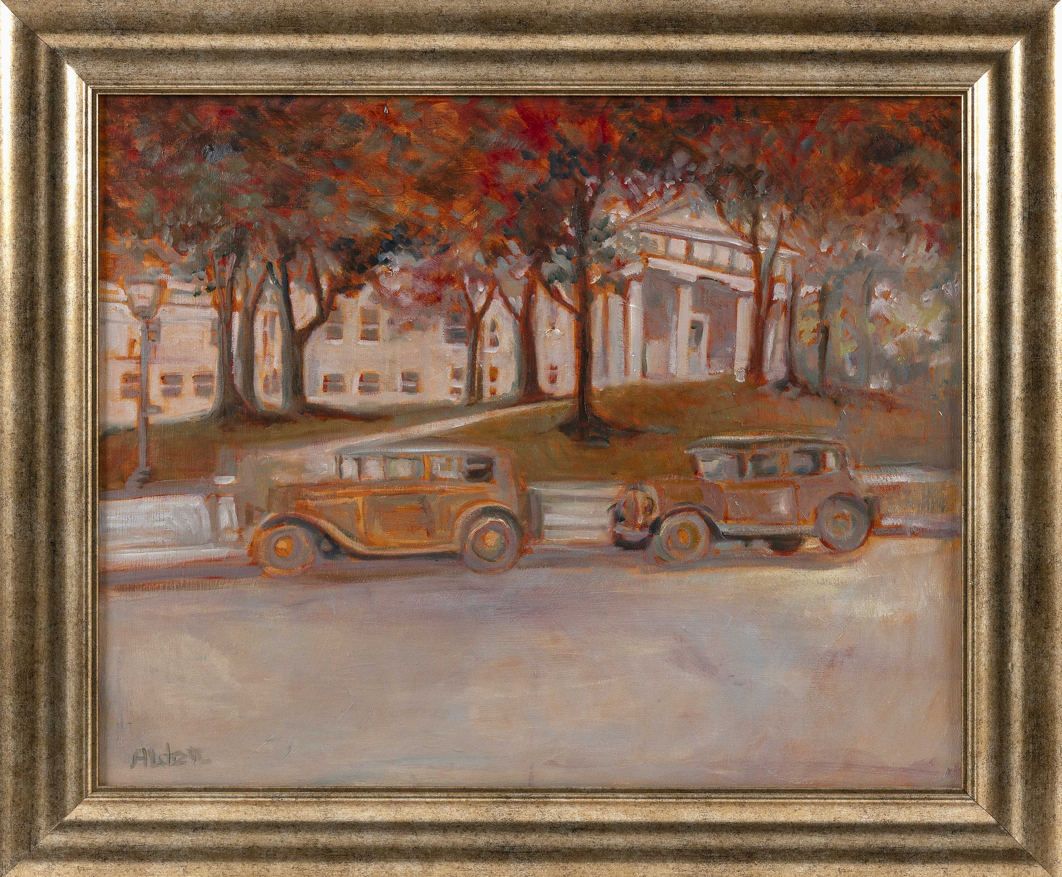 SELMA ALDEN (Massachusetts, Contemporary), Vintage automobiles outside the Barnstable County Courthouse., Oil on canvas, 20