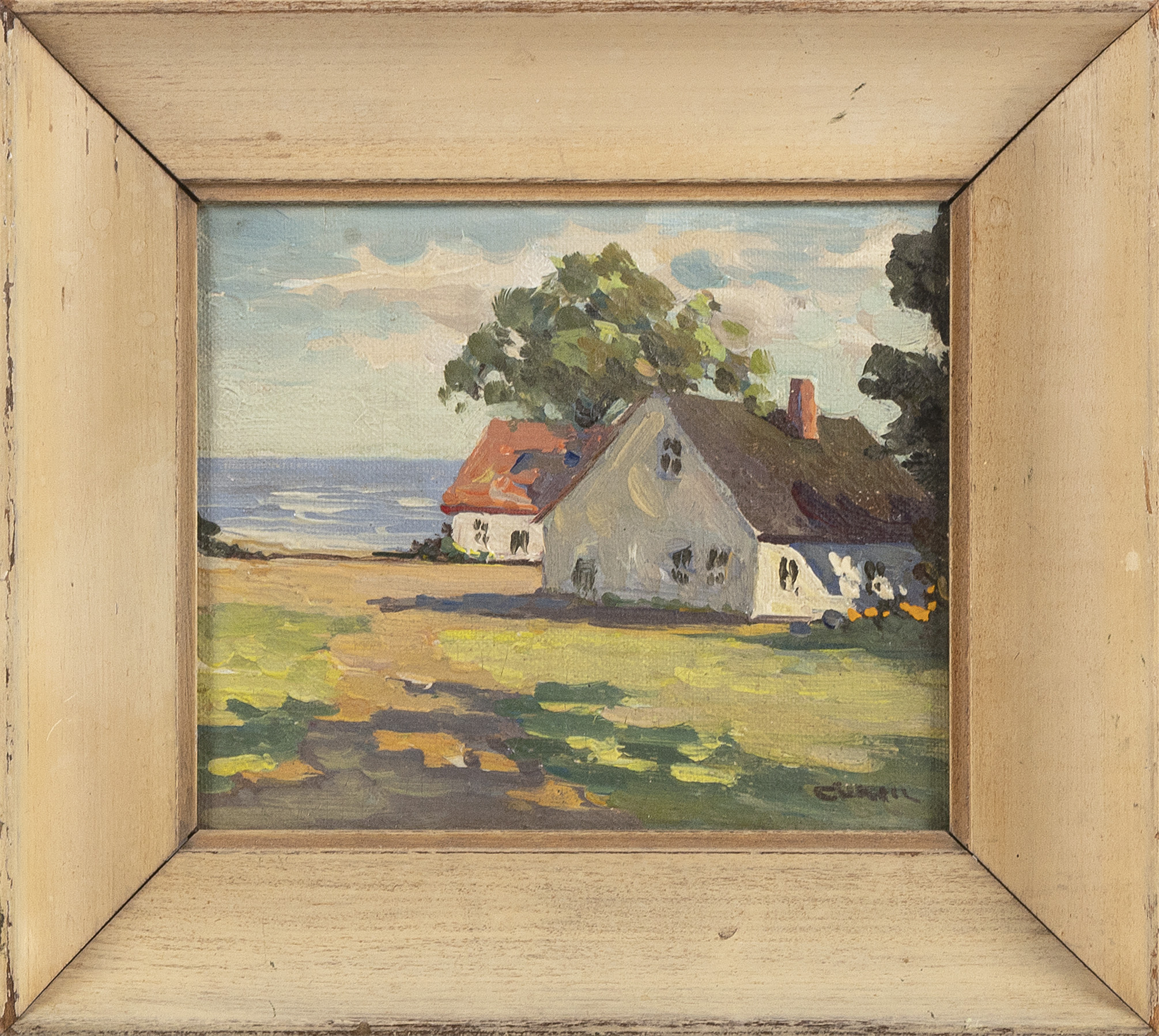 IRENE STRY (Massachusetts, 1904-1963), Cottages by the water., Oil on canvas board, 5