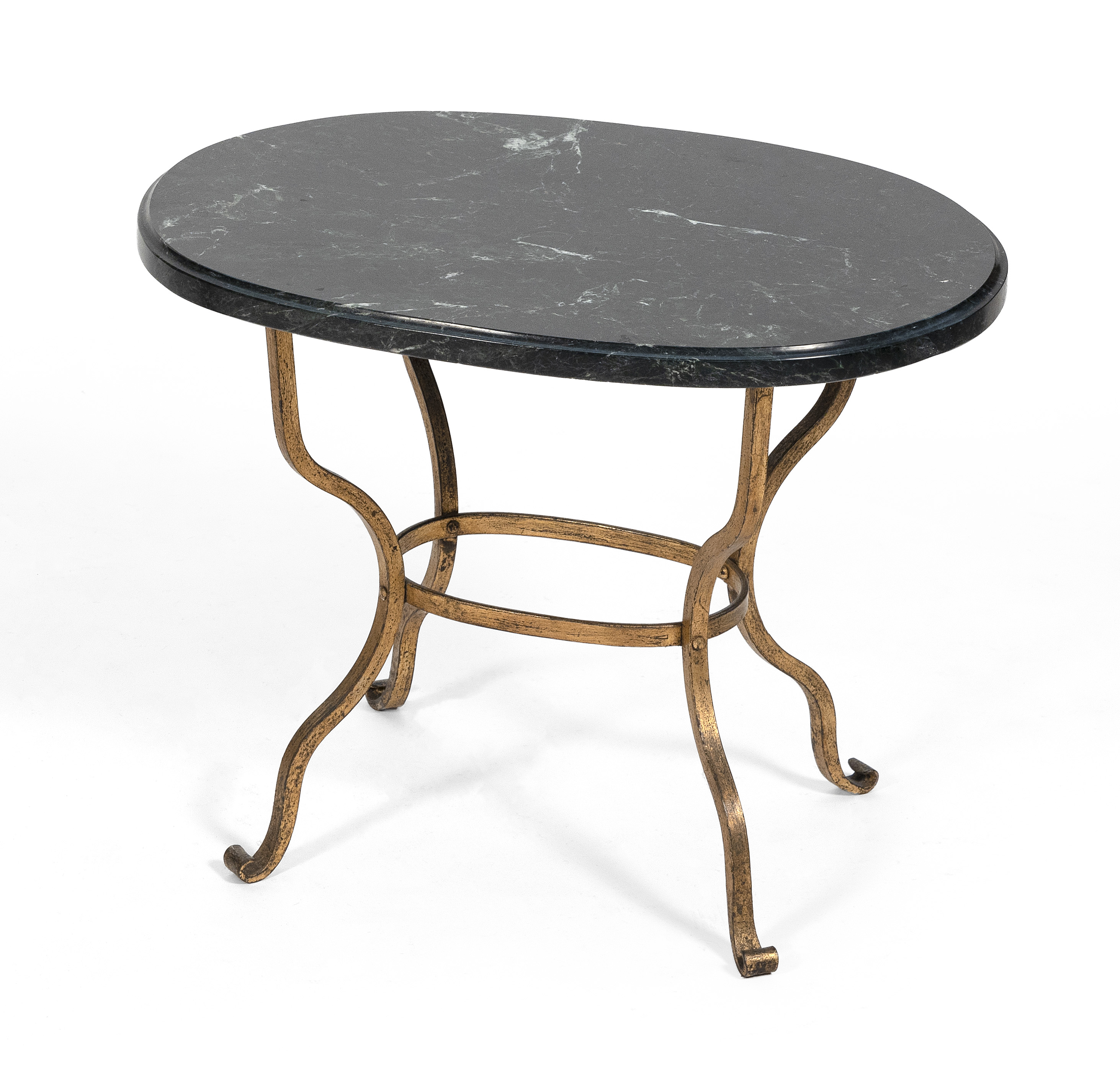 """WROUGHT IRON LOW TABLE WITH GREEN MARBLE TOP First Half of the 20th Century Height 17.5"""". Top 21.75"""" x 15.5""""."""
