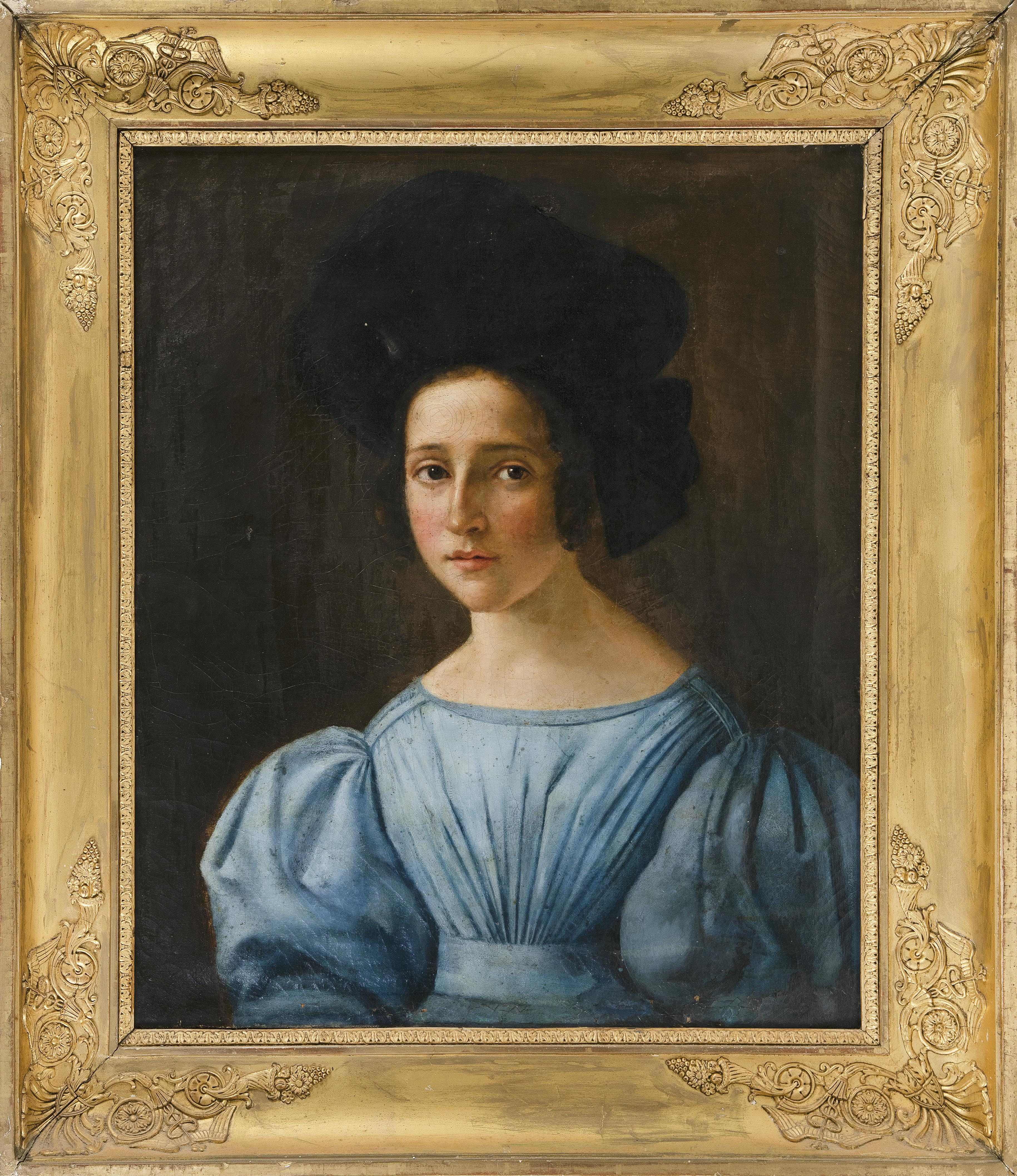 CONTINENTAL SCHOOL (19th Century,), Portrait of a young woman in a blue dress., Oil on canvas, 25