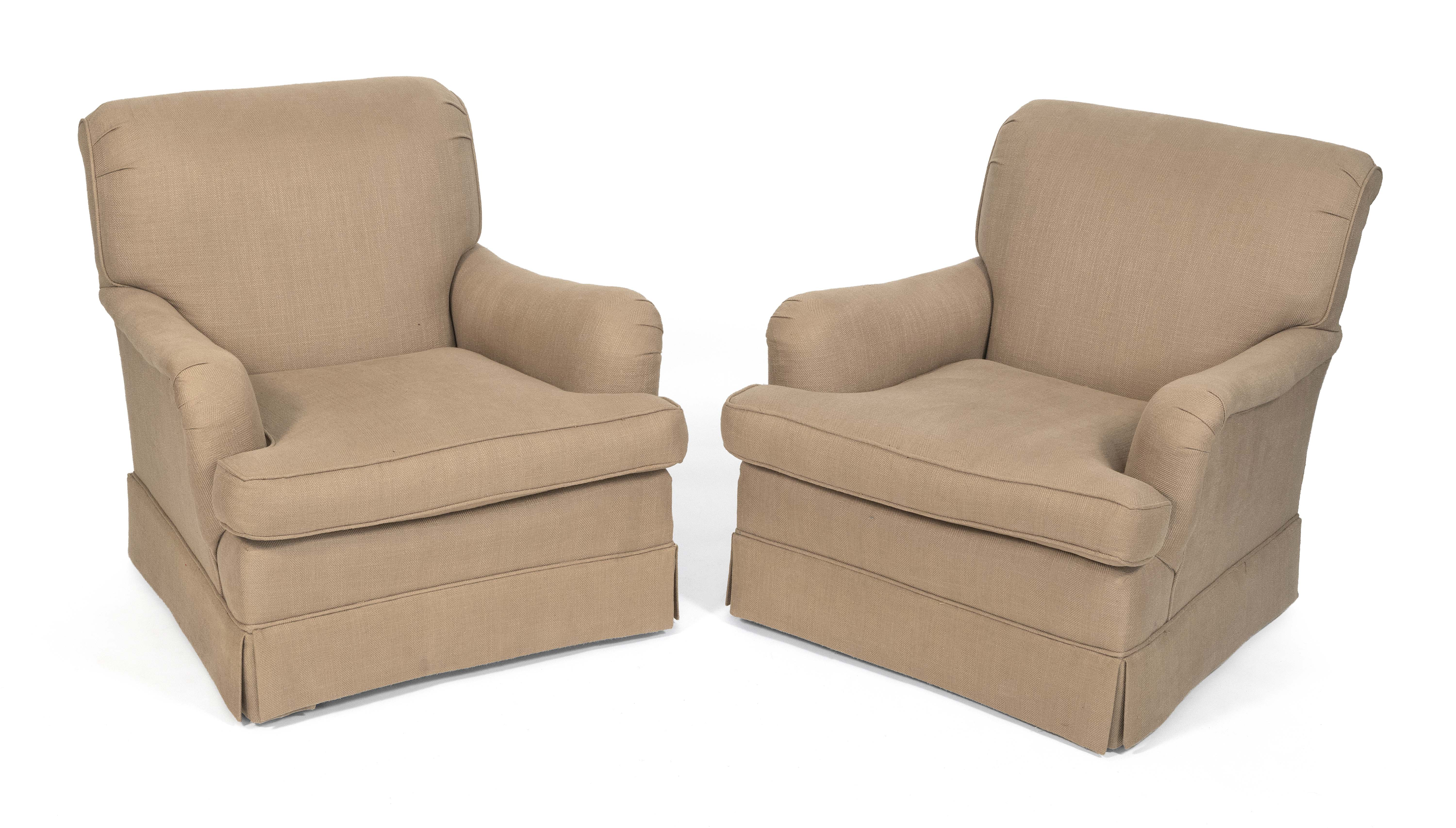 """PAIR OF OVERSTUFFED ARMCHAIRS Contemporary Back heights 32.5"""". Seat heights 17""""."""