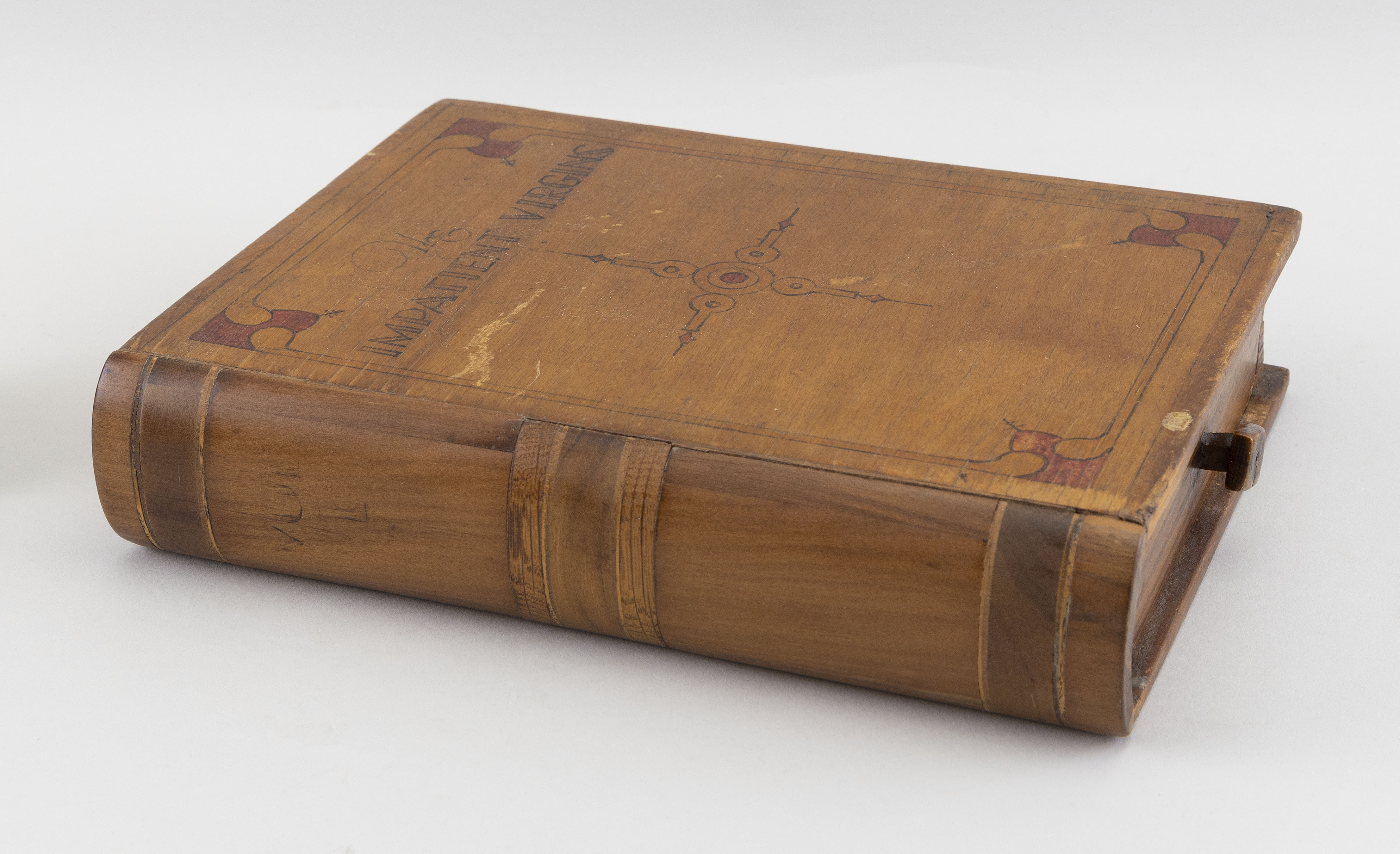 """WOODEN BOOK-FORM DRAWER BOX Late 19th/Early 20th Century 10"""" x 7.75""""."""