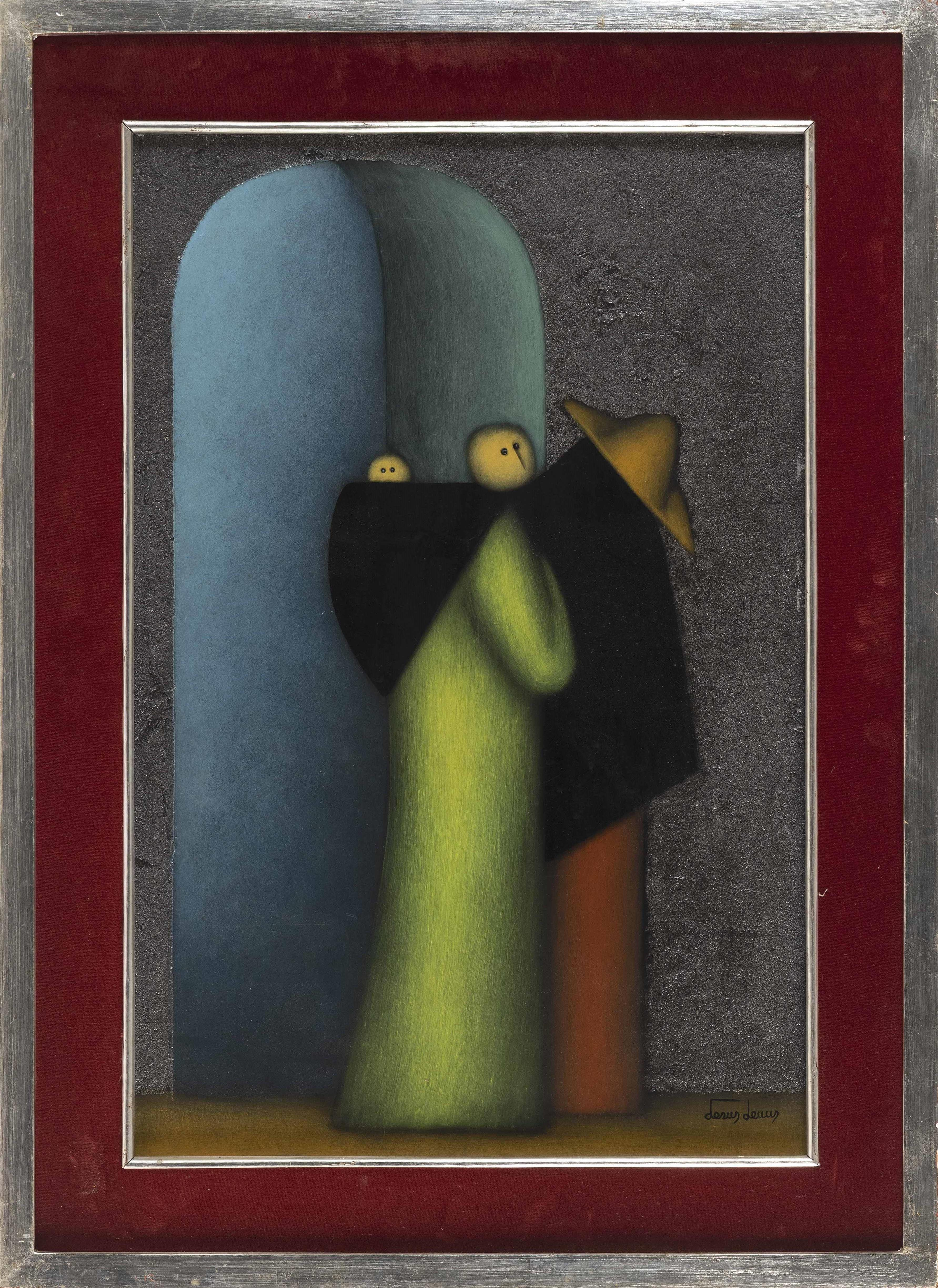 JESUS MARIANO LEUUS (Texas/Mexico, b. 1948), Figures., Oil on board, 24