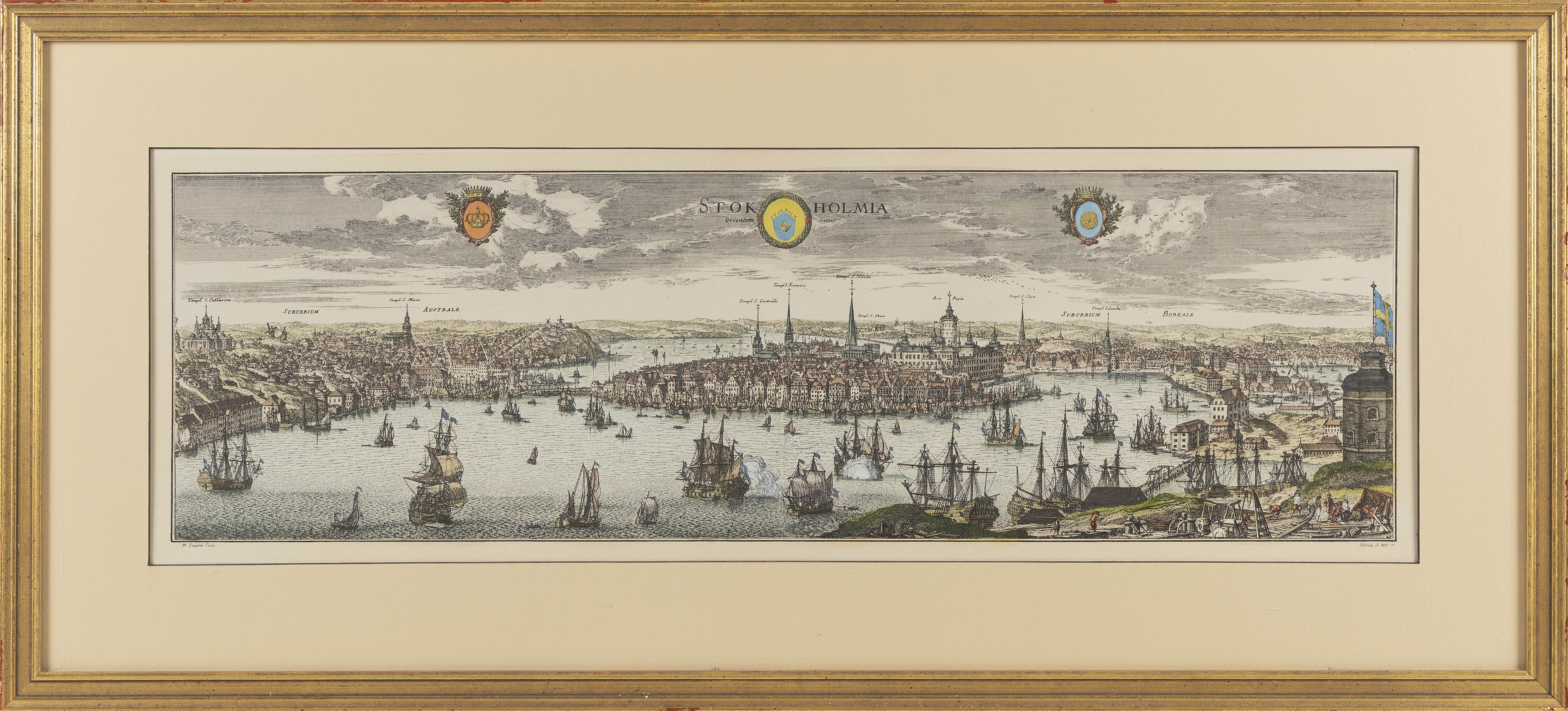 FRAMED HAND COLORED PANORAMIC MAP OF STOCKHOLM 19th Century 10.5