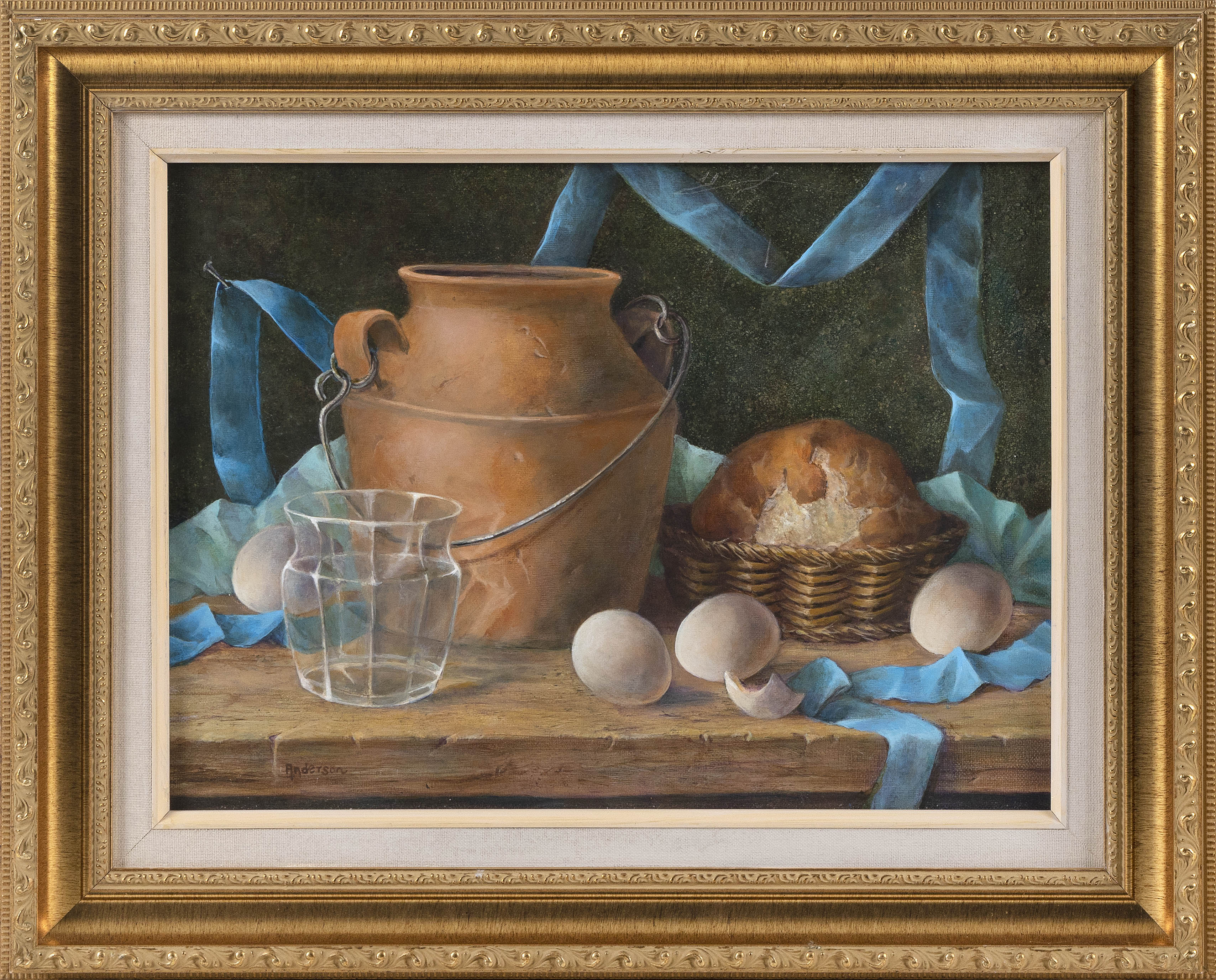ANNE ANDERSON (Connecticut, Contemporary), Still life of eggs, a loaf of bread, a crock and a glass., Acrylic on board, 12