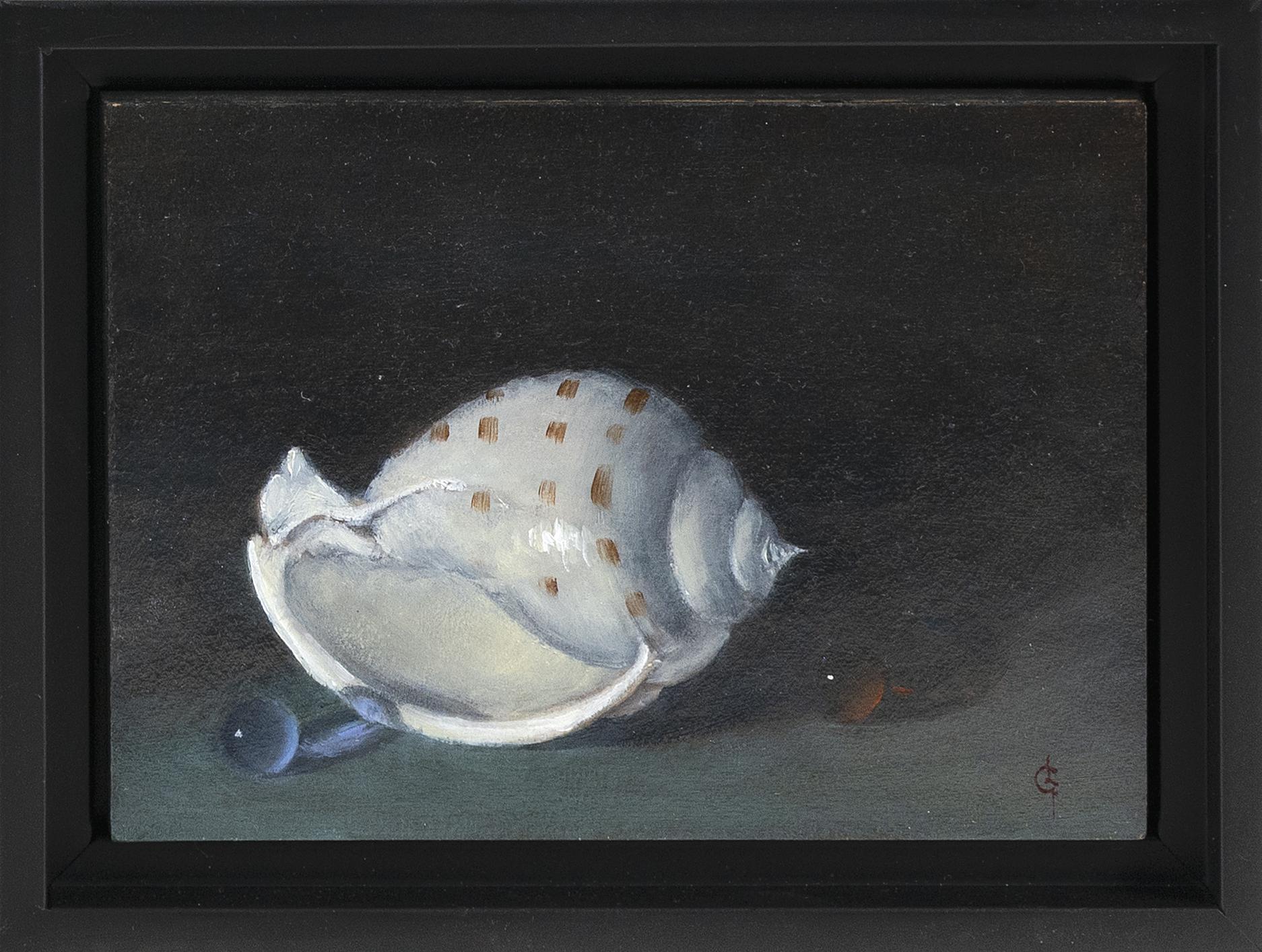 "LESLIE GABOSH (America, Contemporary), Seashell., Oil on board, 5"" x 7"". Framed 6.5"" x 8.5""."