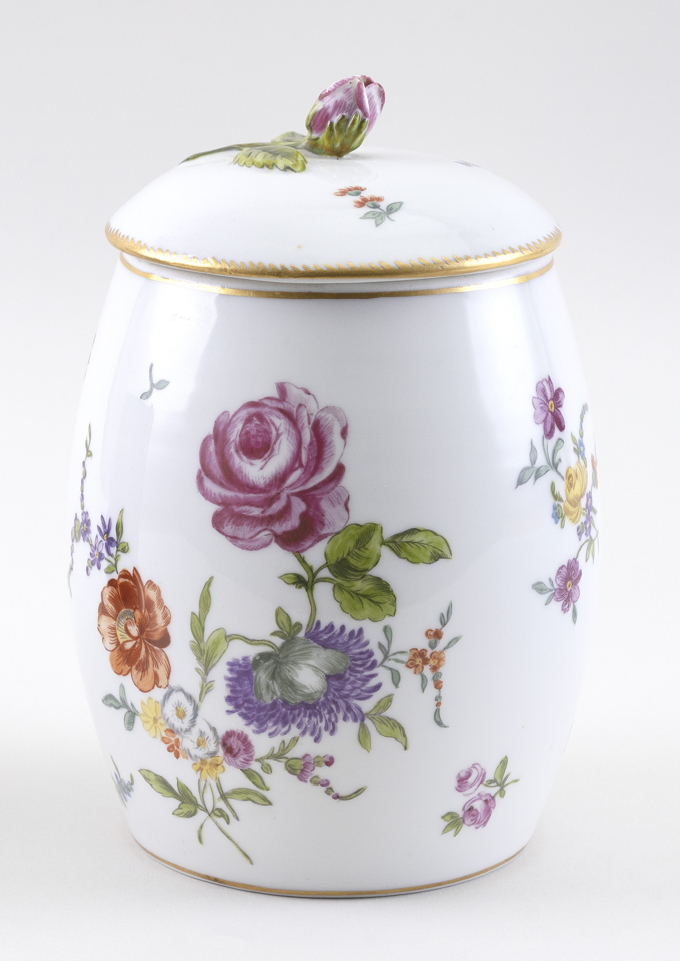 PORCELAIN COVERED BISCUIT BARREL Possibly Plymouth or Bristol, Late 18th/Early 19th Century Height 7