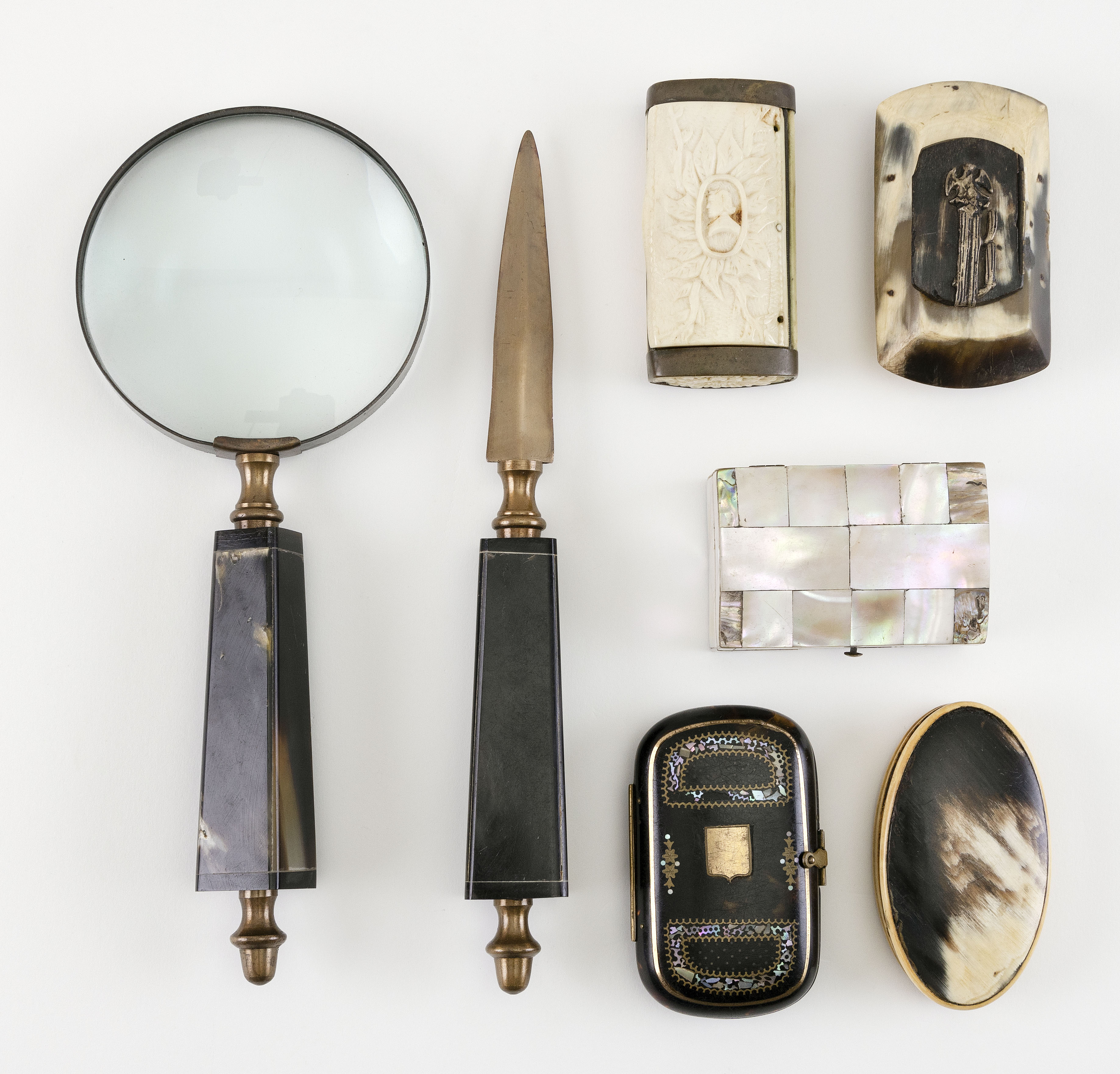 SEVEN HORN, BONE AND SHELL ITEMS