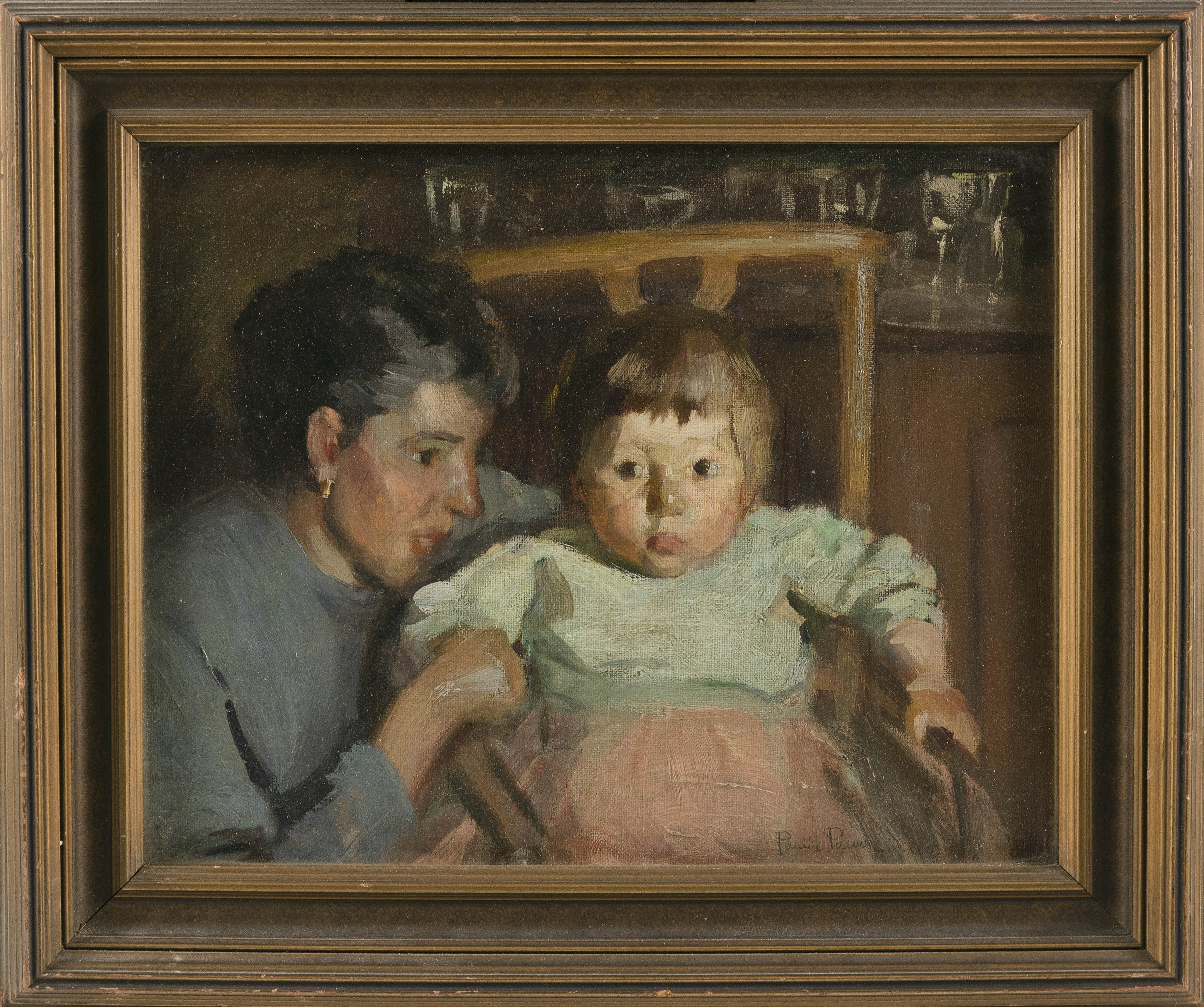 PAULINE LENNARDS PALMER (Illinois, 1867-1938), Mother and child., Oil on board, 10