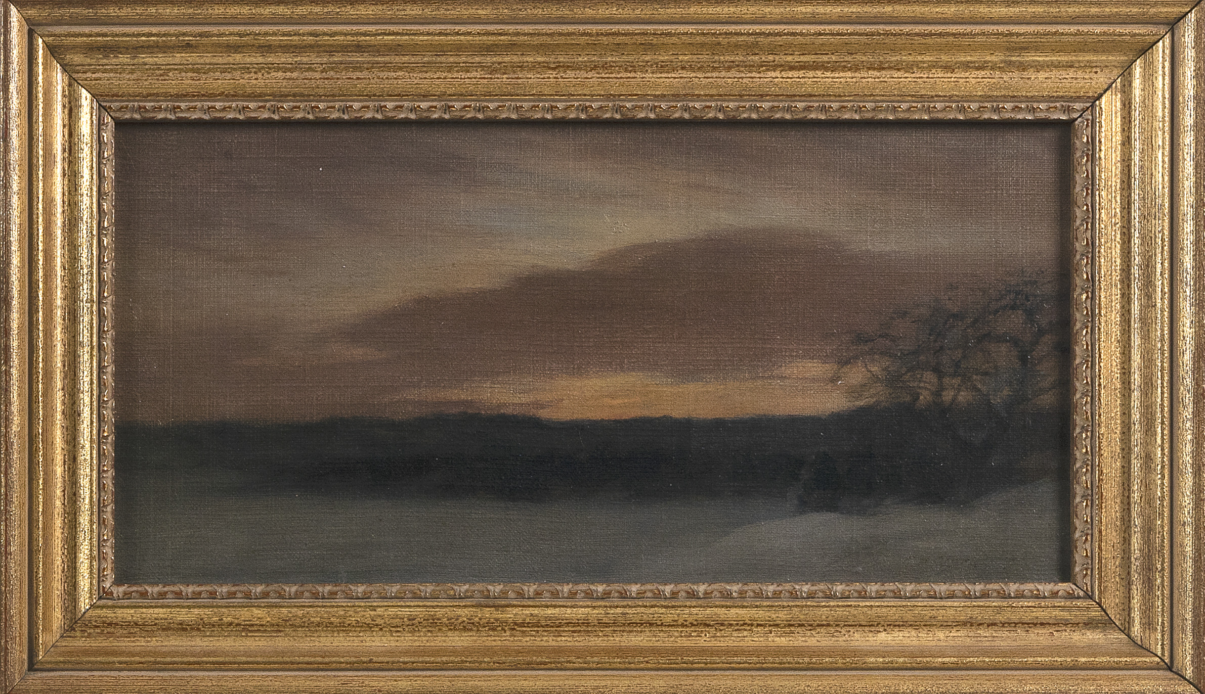 """FREDERICK HATFIELD CLARK (New Jersey/New York, 1862-1947), """"Winter Dawn at Vineyard Haven Looking Towards Lagoon Heights""""., Oil on canvas, 6"""" x 12"""". Framed 8.25"""" x 14.25""""."""