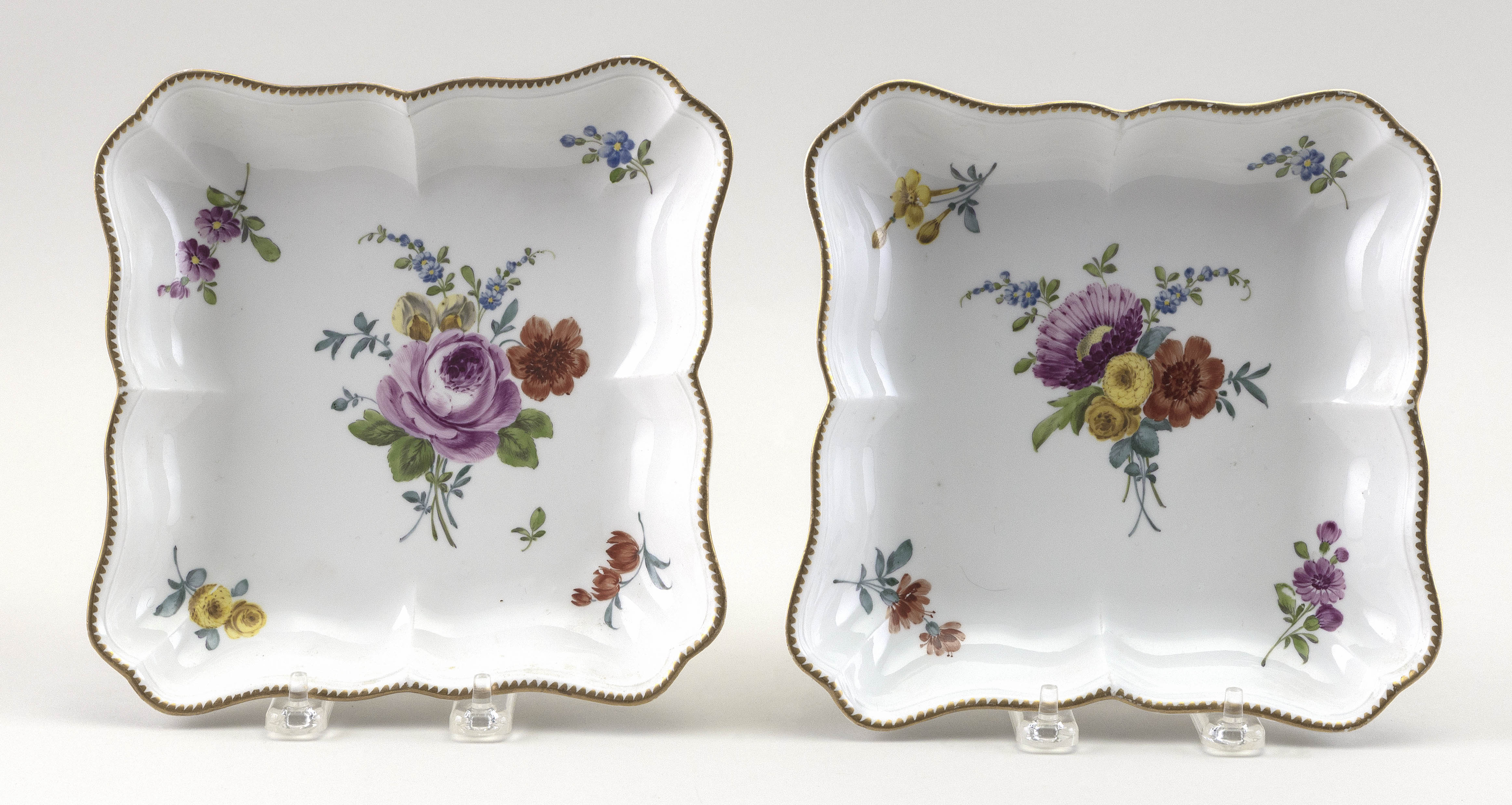 """PAIR OF WILLIAM COOKWORTHY PLYMOUTH PORCELAIN DISHES England, Circa 1770 Lengths 8""""."""