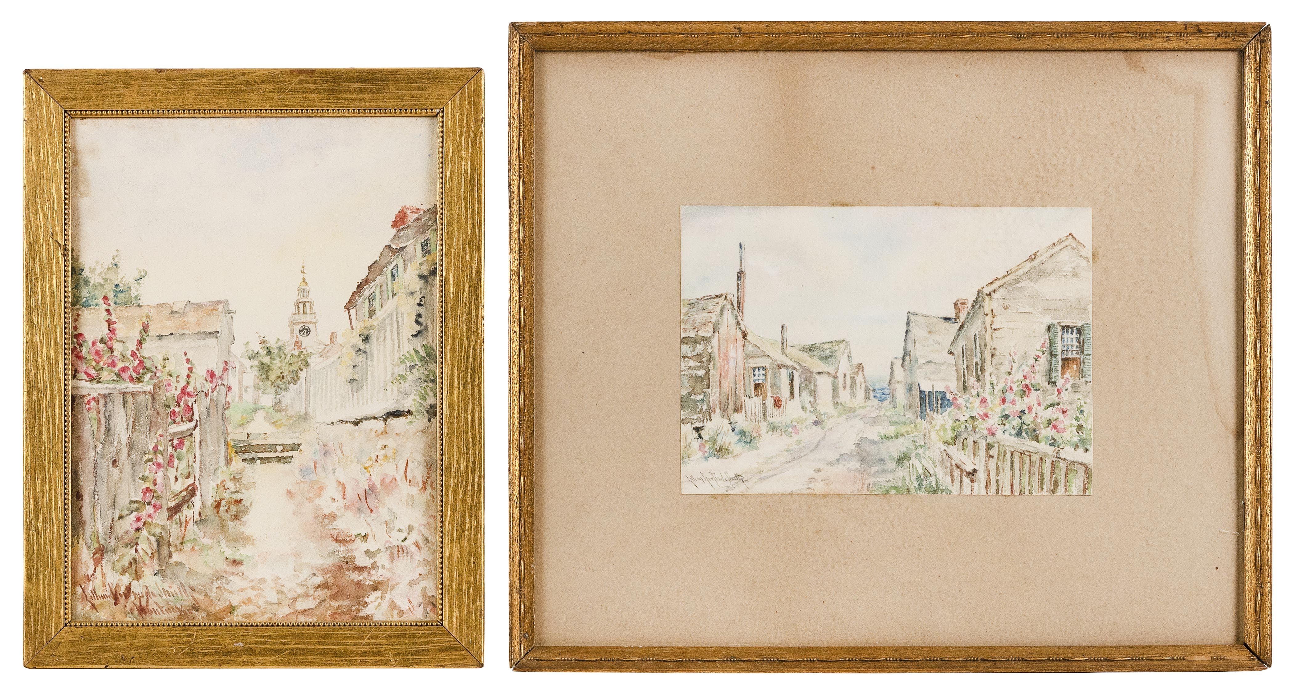 """LILLIAN GERTRUDE SMITH (Massachusetts, 19th / 20th Century), Two Nantucket works., Watercolors on paper, 10"""" x 8"""" x 6"""" x 8.75"""". Framed 12.5"""" x 9.5"""" and 14"""" x 17""""."""
