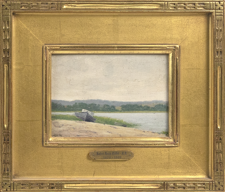 "ROBERT HOGG NISBET (Connecticut/Rhode Island, 1879-1961), ""At Northport"", Oil on board, 5"" x 7"". Framed 10.75"" x 12,.75""."