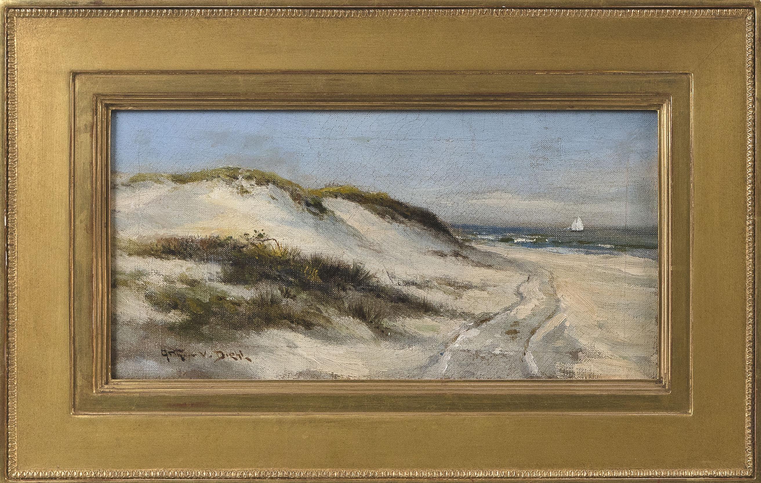 """ARTHUR VIDAL DIEHL (Massachusetts/New York/England, 1870-1929), Path through the dunes., Oil on canvas, 6"""" x 11.75"""". Framed 10"""" x 15.75""""."""