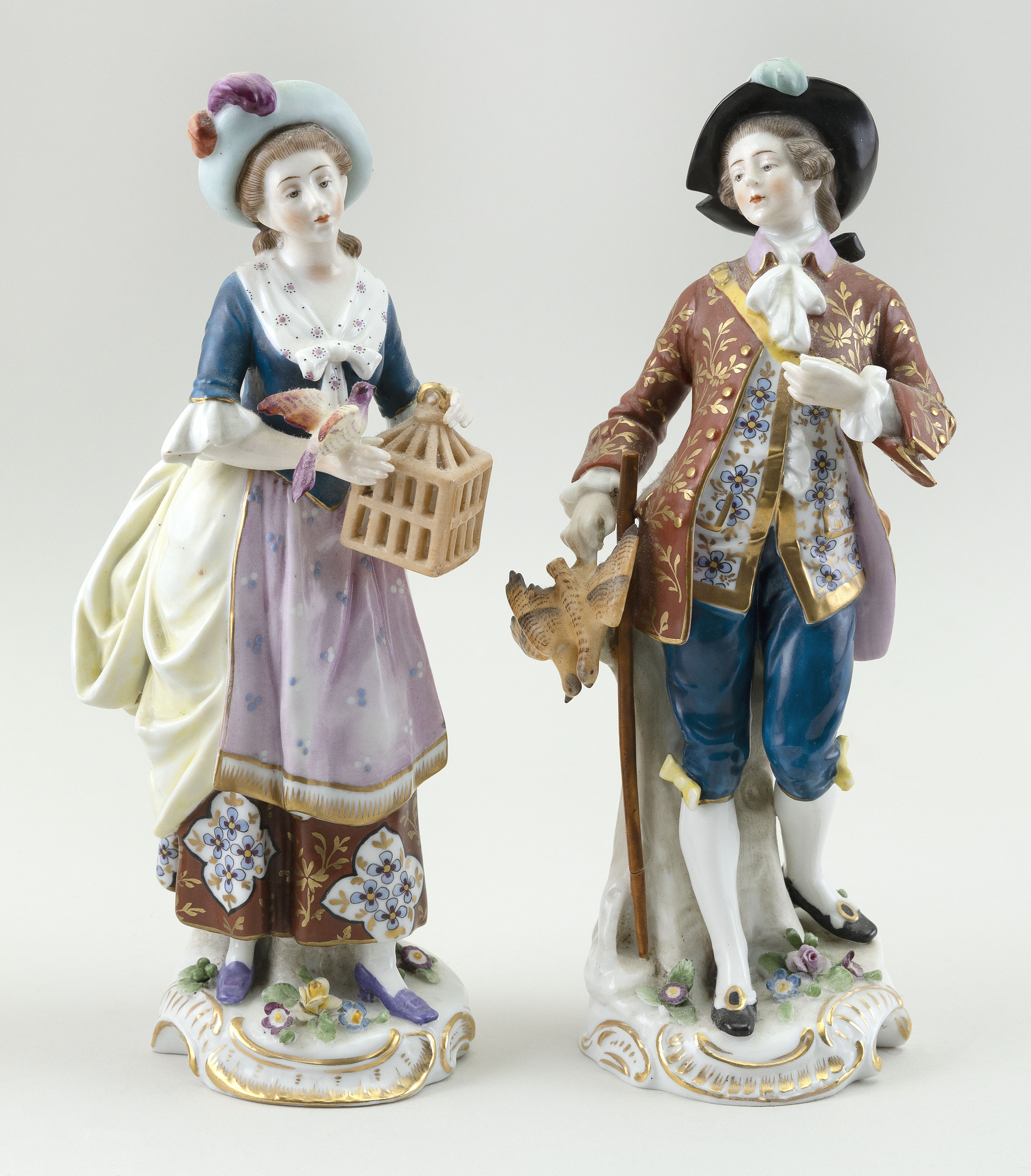 """PAIR OF CHELSEA PORCELAIN FIGURES England, Circa 1820 Heights to 9.5""""."""