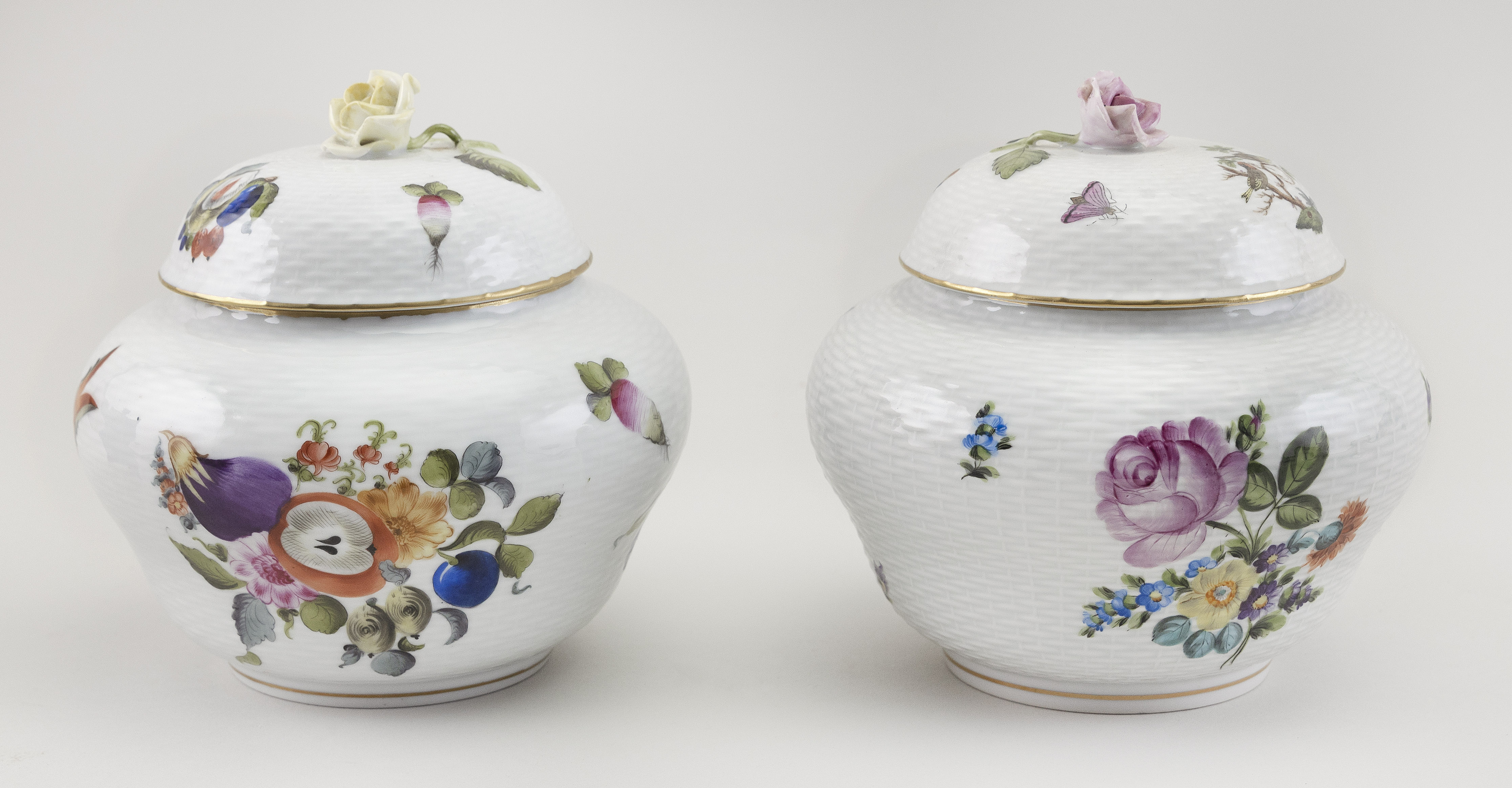 """TWO HEREND PORCELAIN COVERED GINGER JARS Hungary, 20th Century Heights 6""""."""
