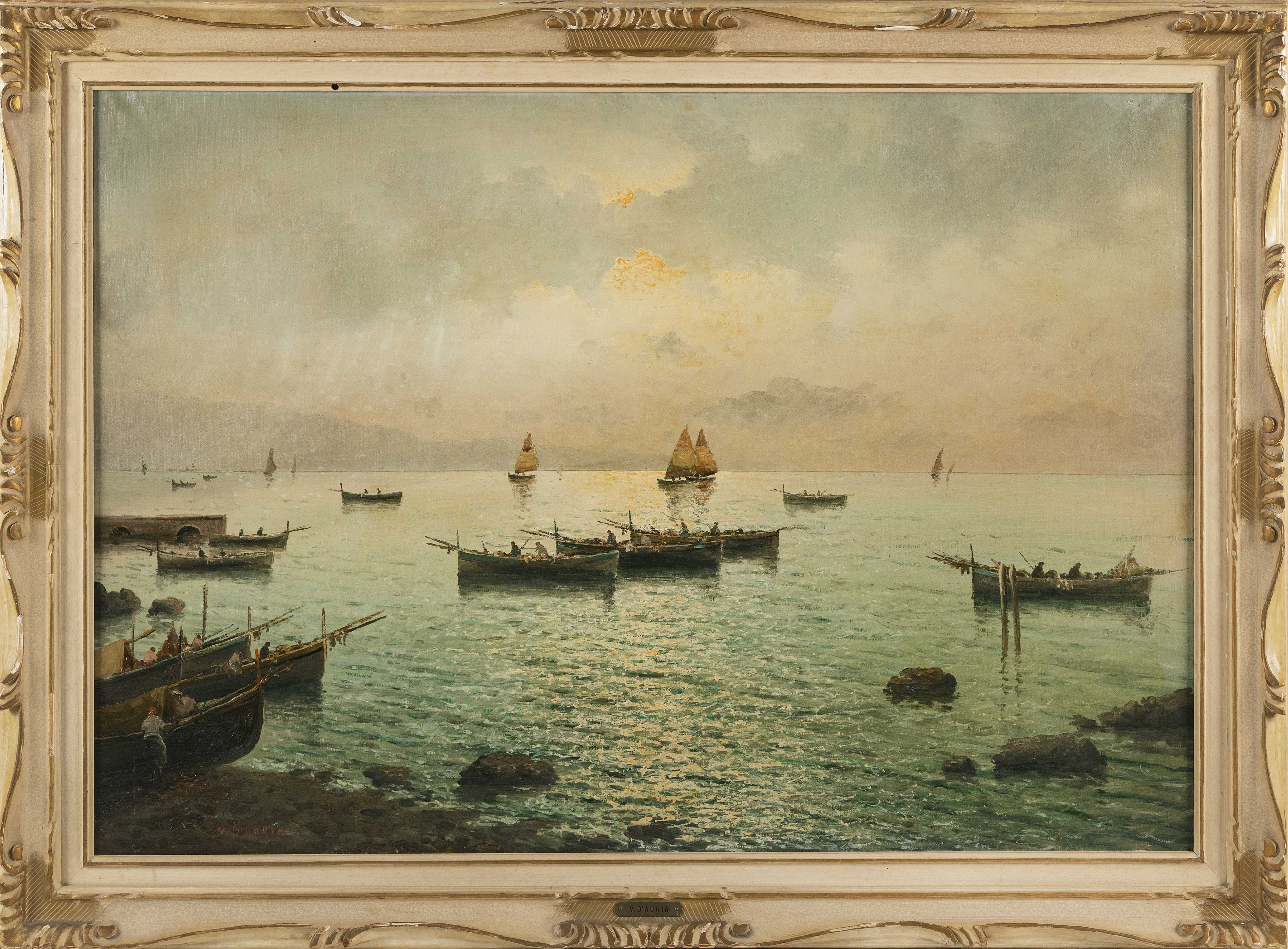 VINCENZO D'AURIA (Italy, 1872-1939), Sunset over a bay., Oil on canvas, 27.5