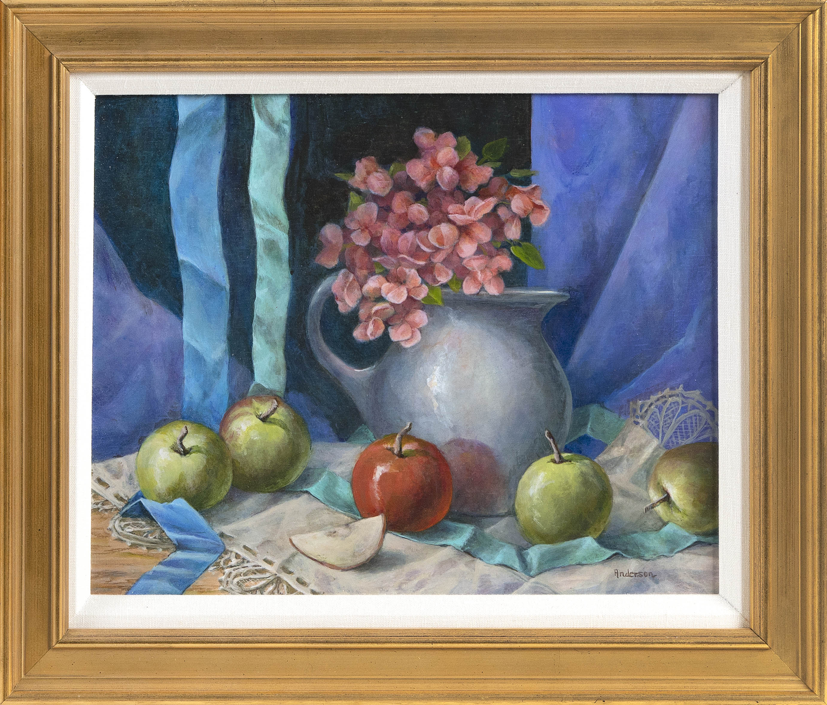 ANNE ANDERSON (Connecticut, Contemporary), Still life of apples and flowers in a pitcher., Acrylic on board, 11