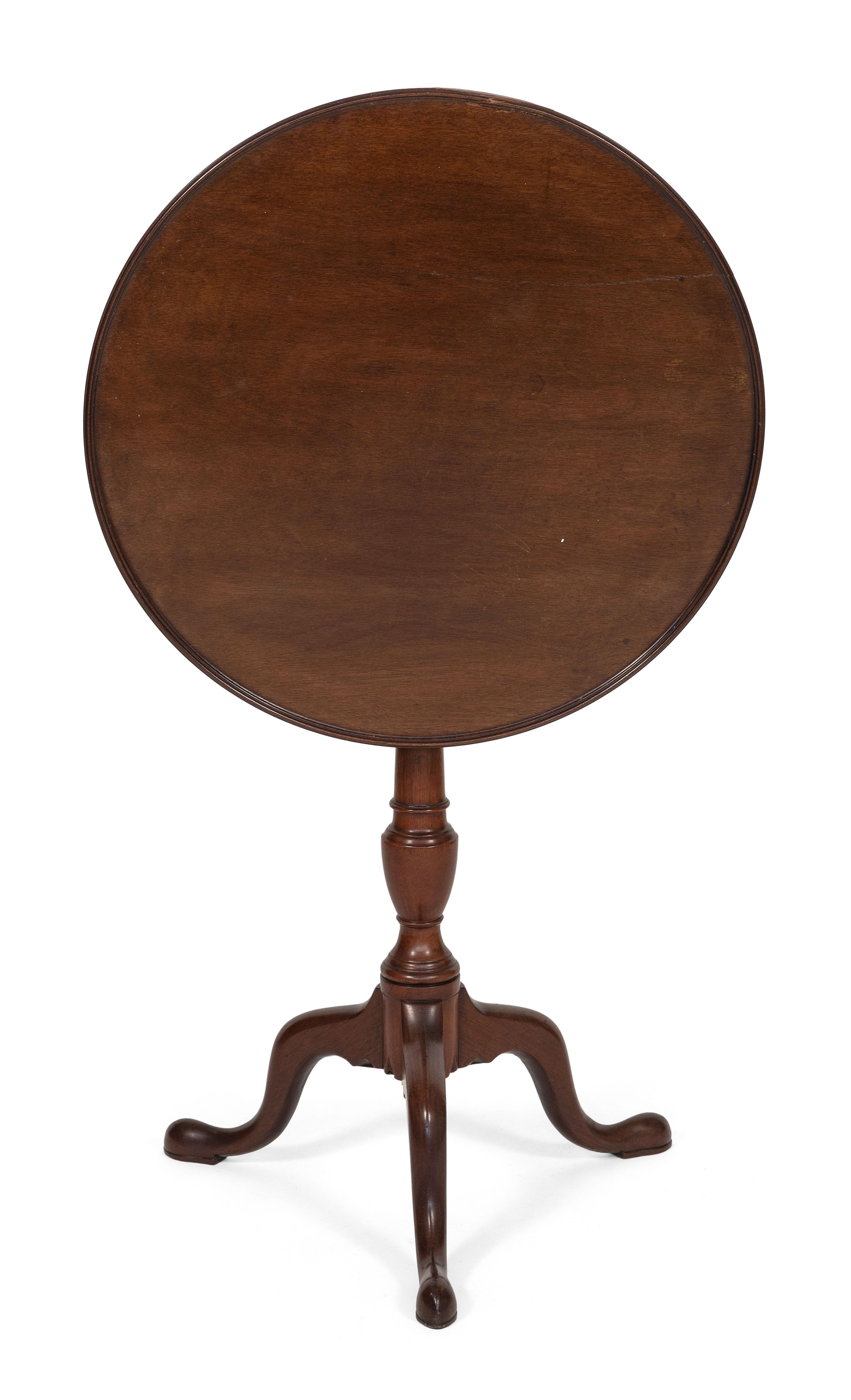 QUEEN ANNE BIRDCAGE TILT-TOP TABLE Massachusetts, Last Half of the 18th Century Height 27.75