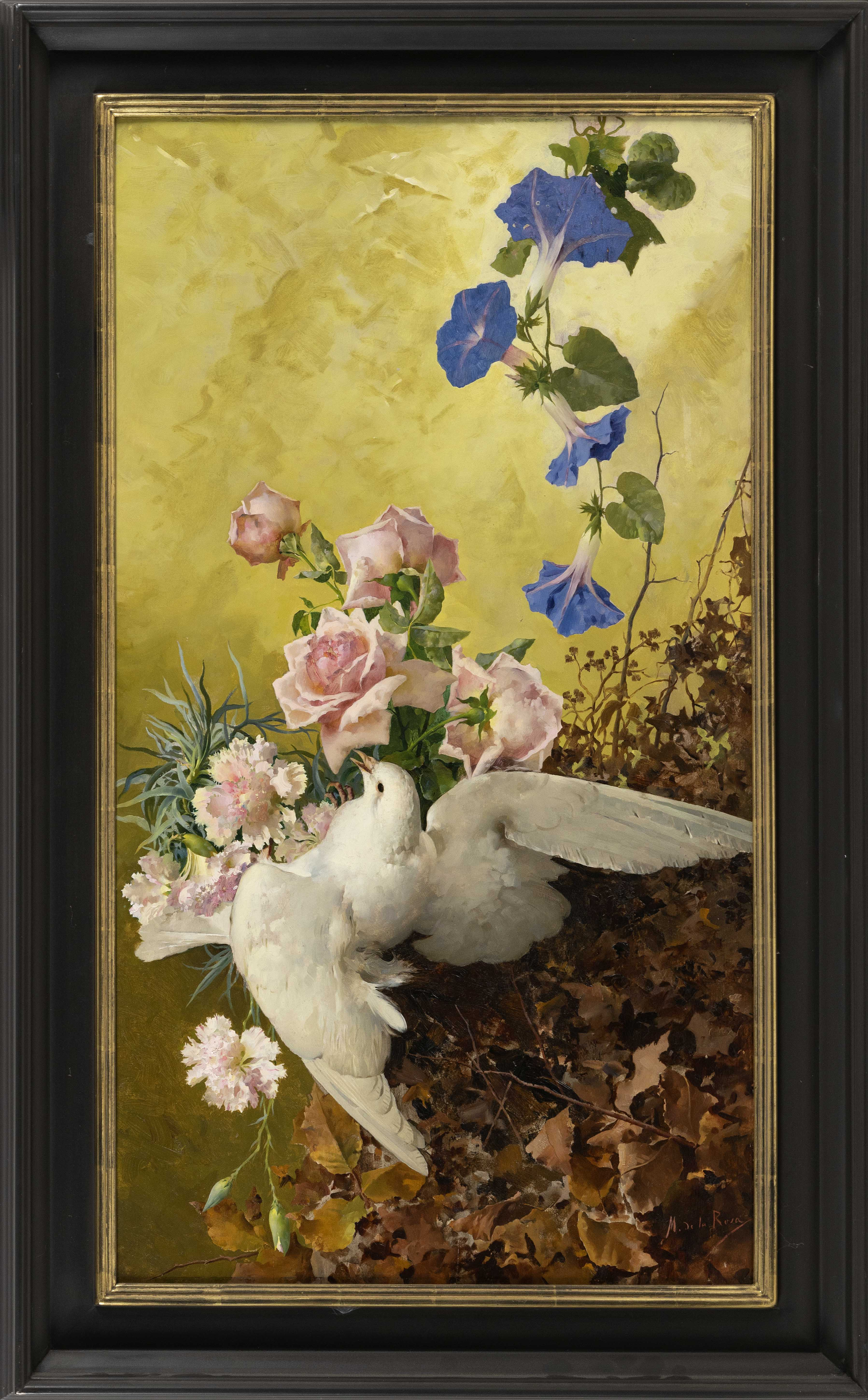 """MAGDA DE LA ROSA (Italy, Late 19th Century), A white bird with roses., Oil on board, 30.75"""" x 17"""". Framed 36"""" x 22.5""""."""