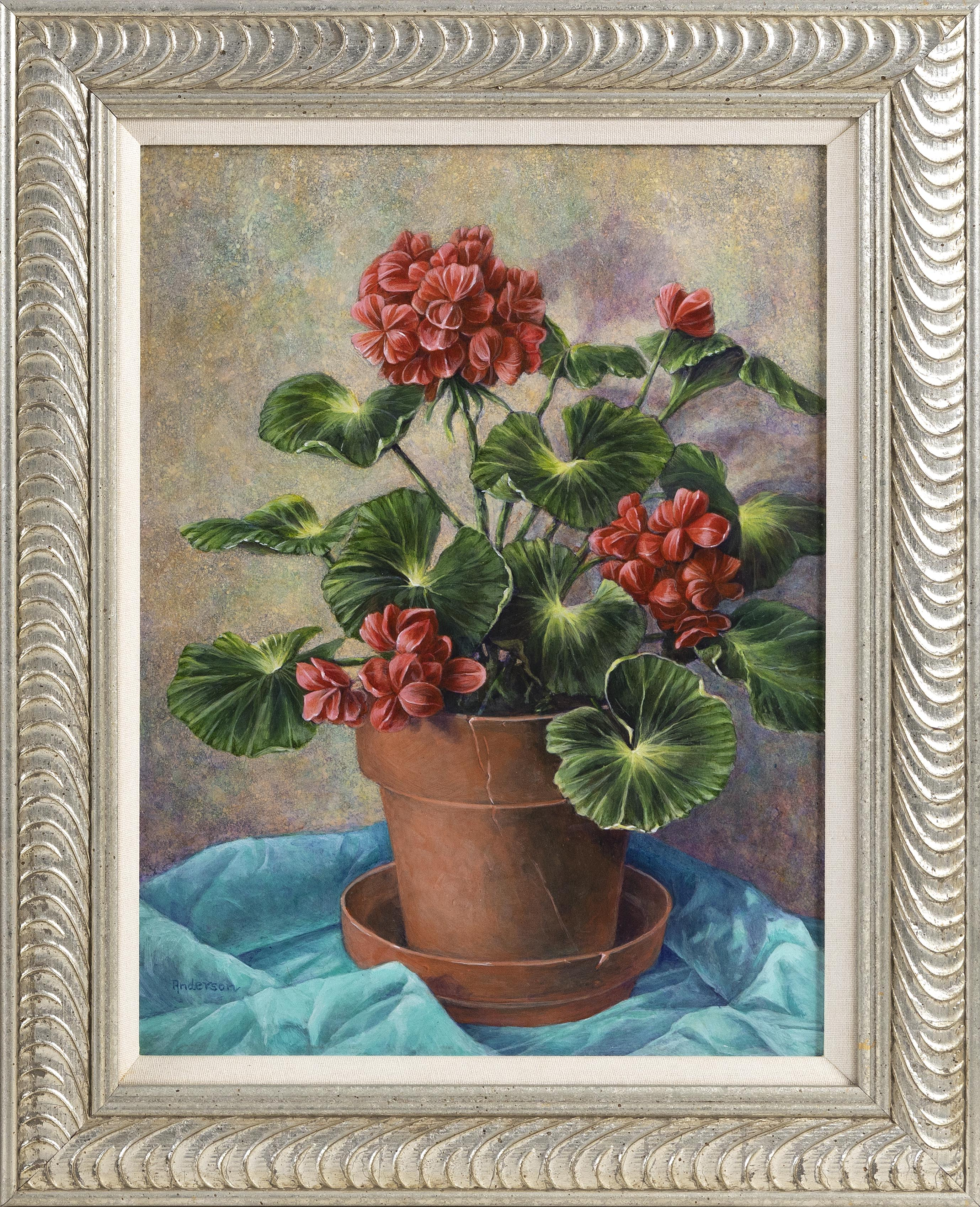 ANNE ANDERSON (Connecticut, Contemporary), A potted geranium., Acrylic on board, 16