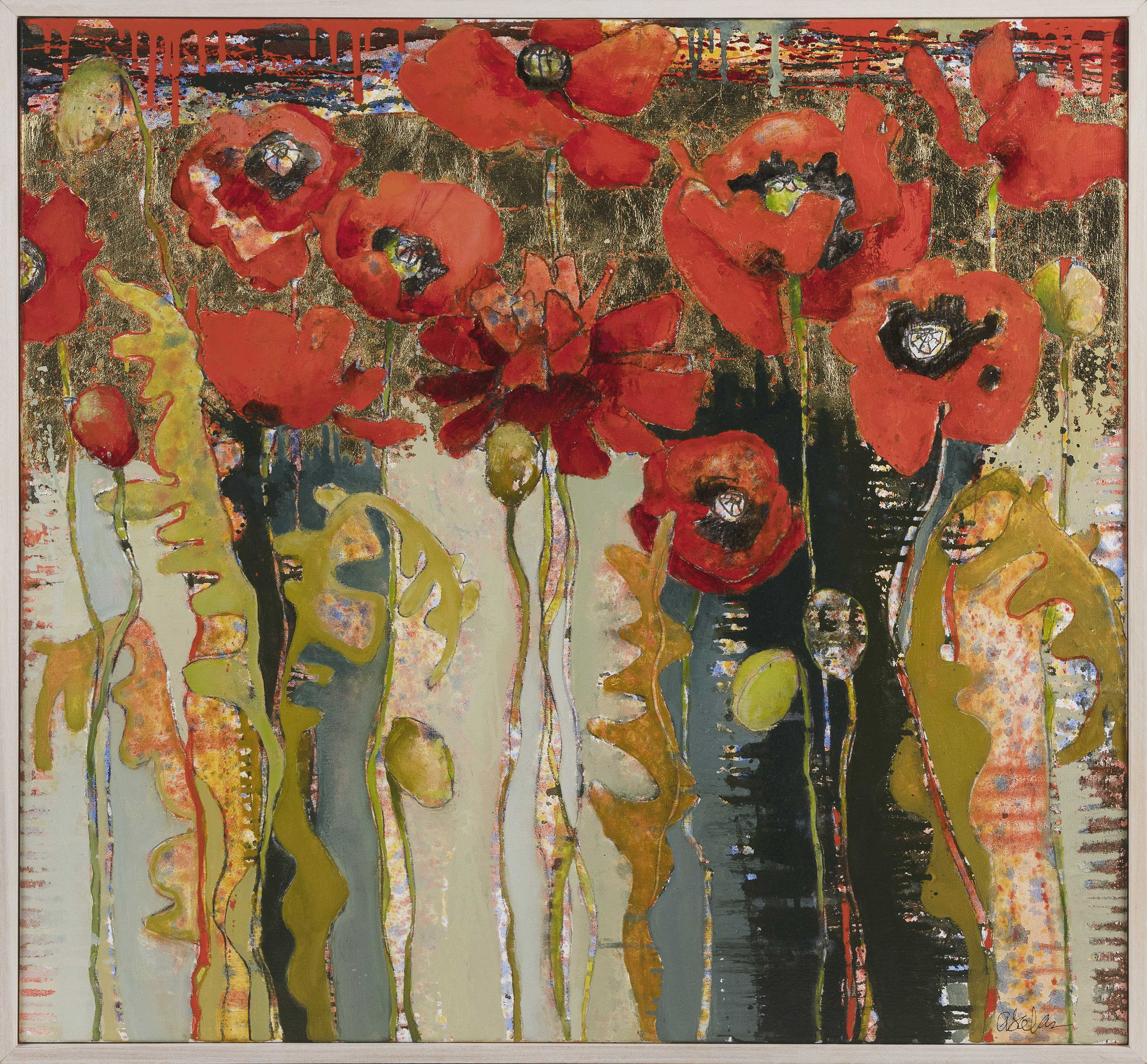 """ANNE SALAS (Massachusetts, Contemporary), """"Poppies""""., Oil on canvas with 23kt gold leaf, 30"""" x 32"""". Framed 31"""" x 33""""."""