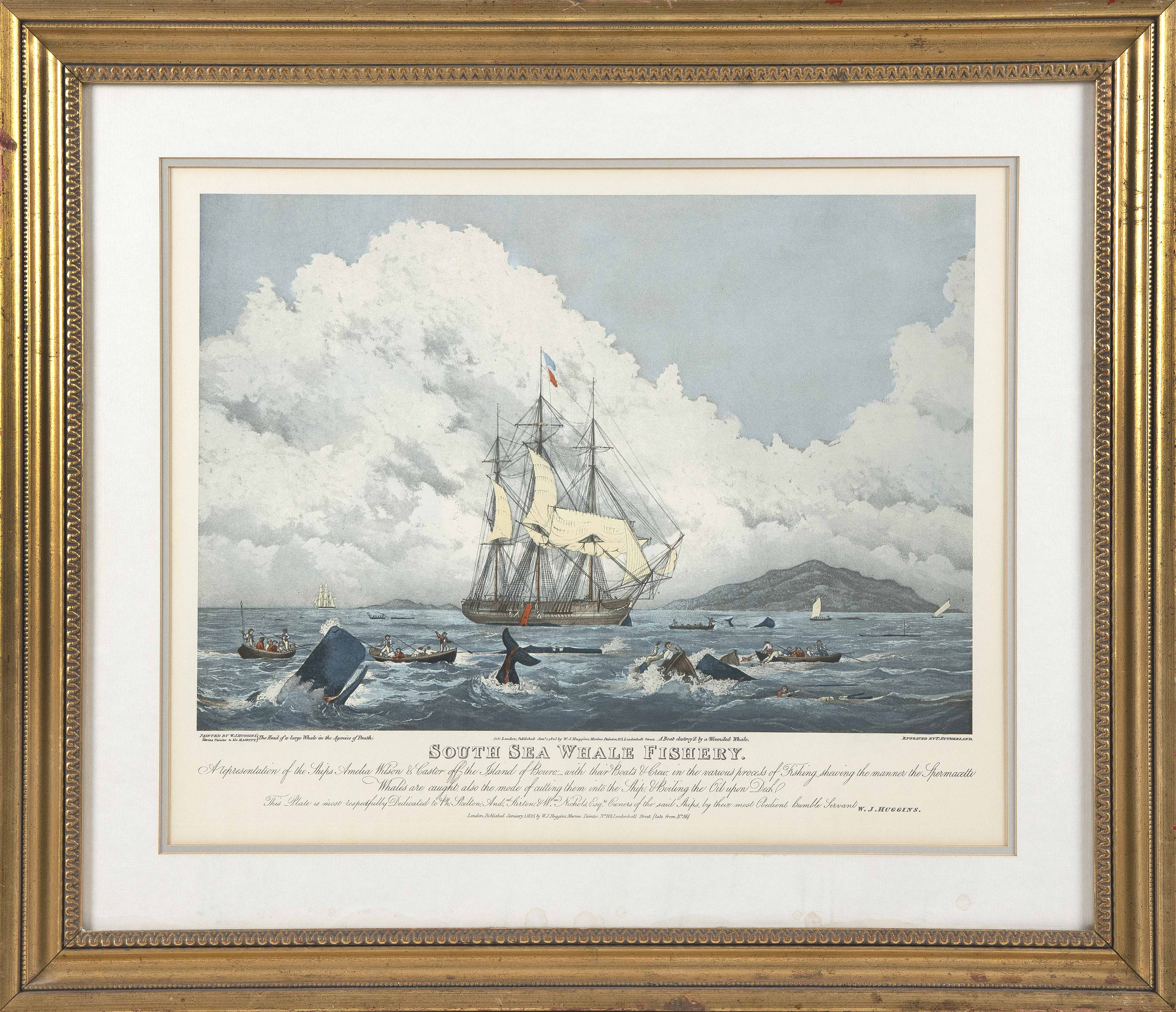 """COLORED ENGRAVING """"SOUTH SEA WHALE FISHERY"""" 19th Century 18.25"""" x 22.75"""" sight. Framed 26.75"""" x 31.25""""."""
