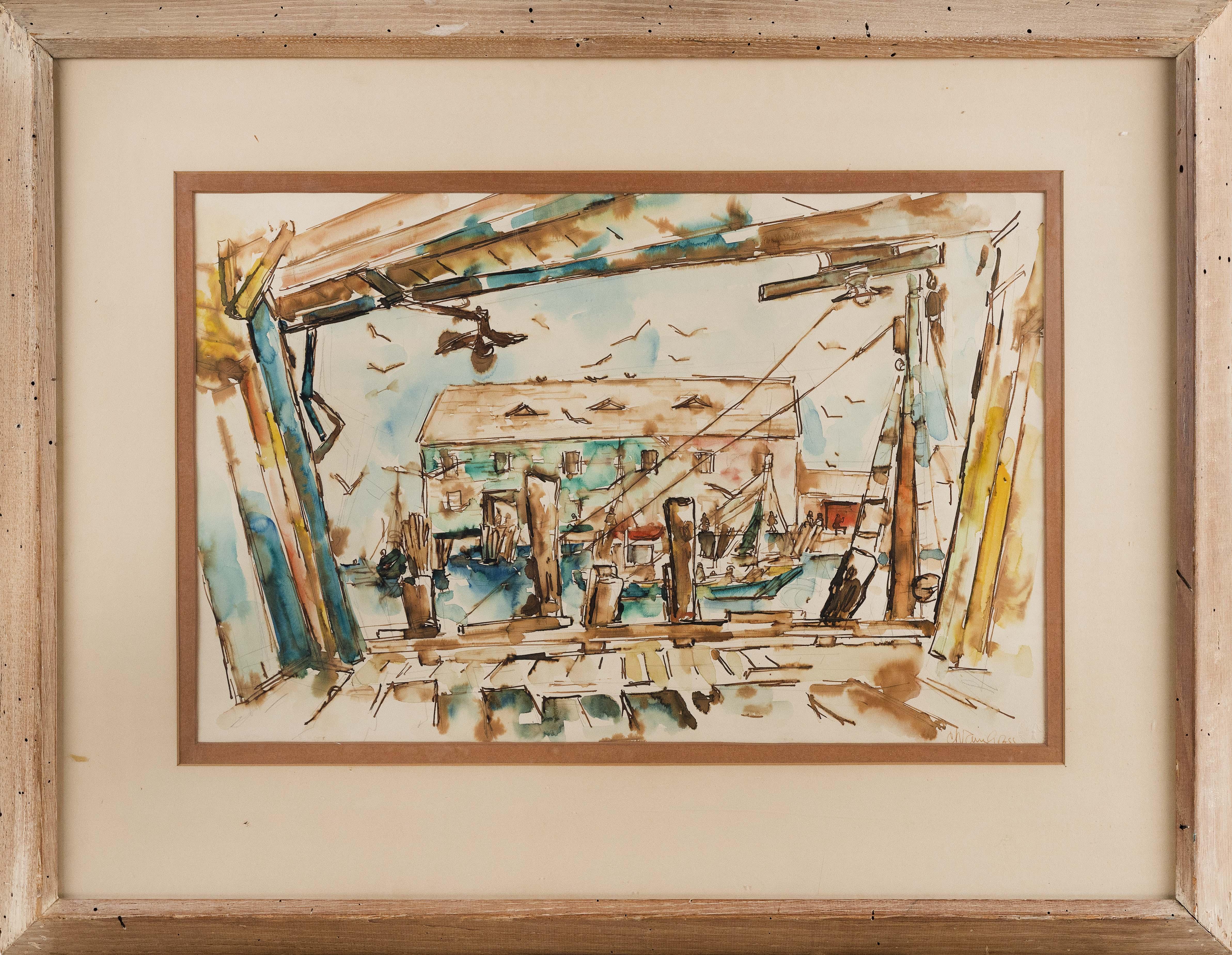 CHAIM GROSS (New York/Massachusetts/Austria/Poland, 1904-1991), Dock scene, Provincetown, Massachusetts., Watercolor on paper, 15