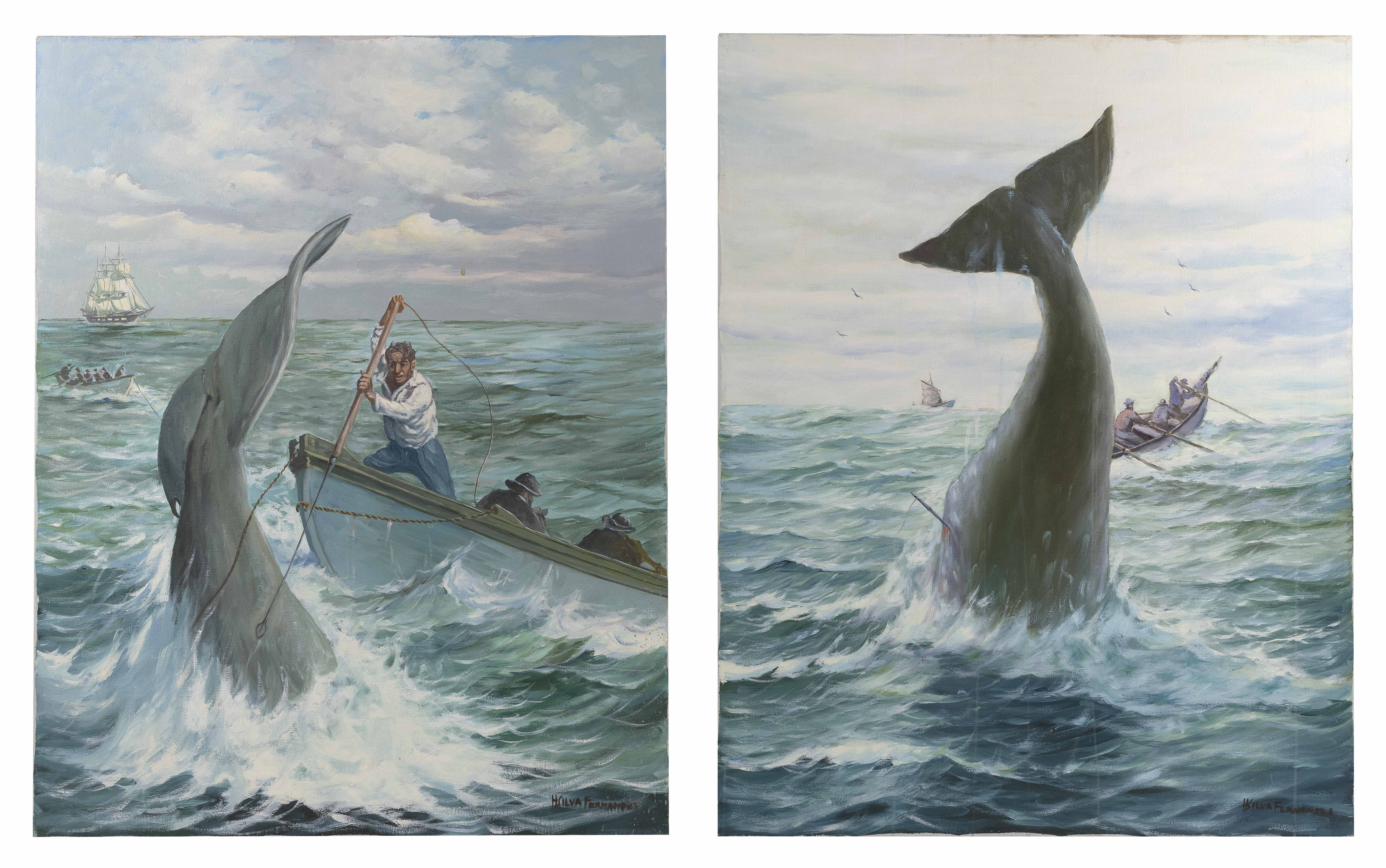 H. SILVA FERNANDES (Massachusetts, 20th Century), Two whaling scenes:, Oils on canvas, 30