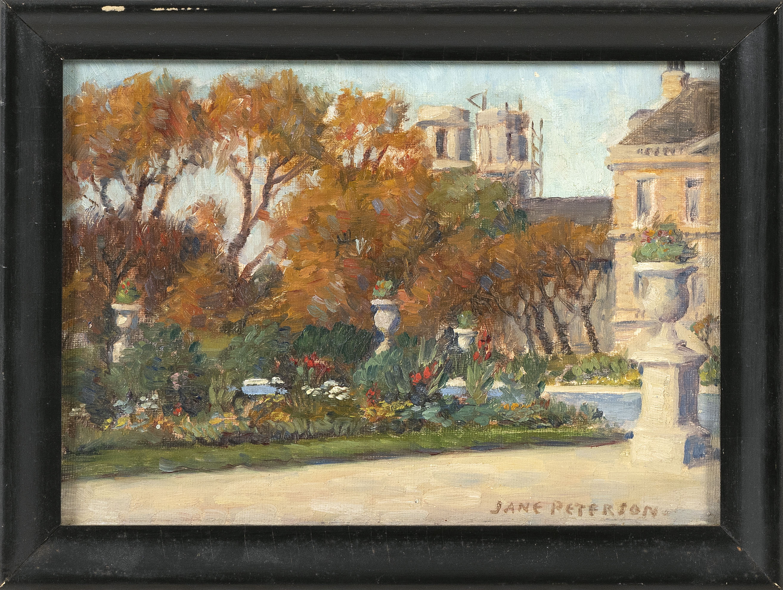 JANE PETERSON (America, 1876-1965), Luxembourg Gardens., Oil on canvasboard, 7.25
