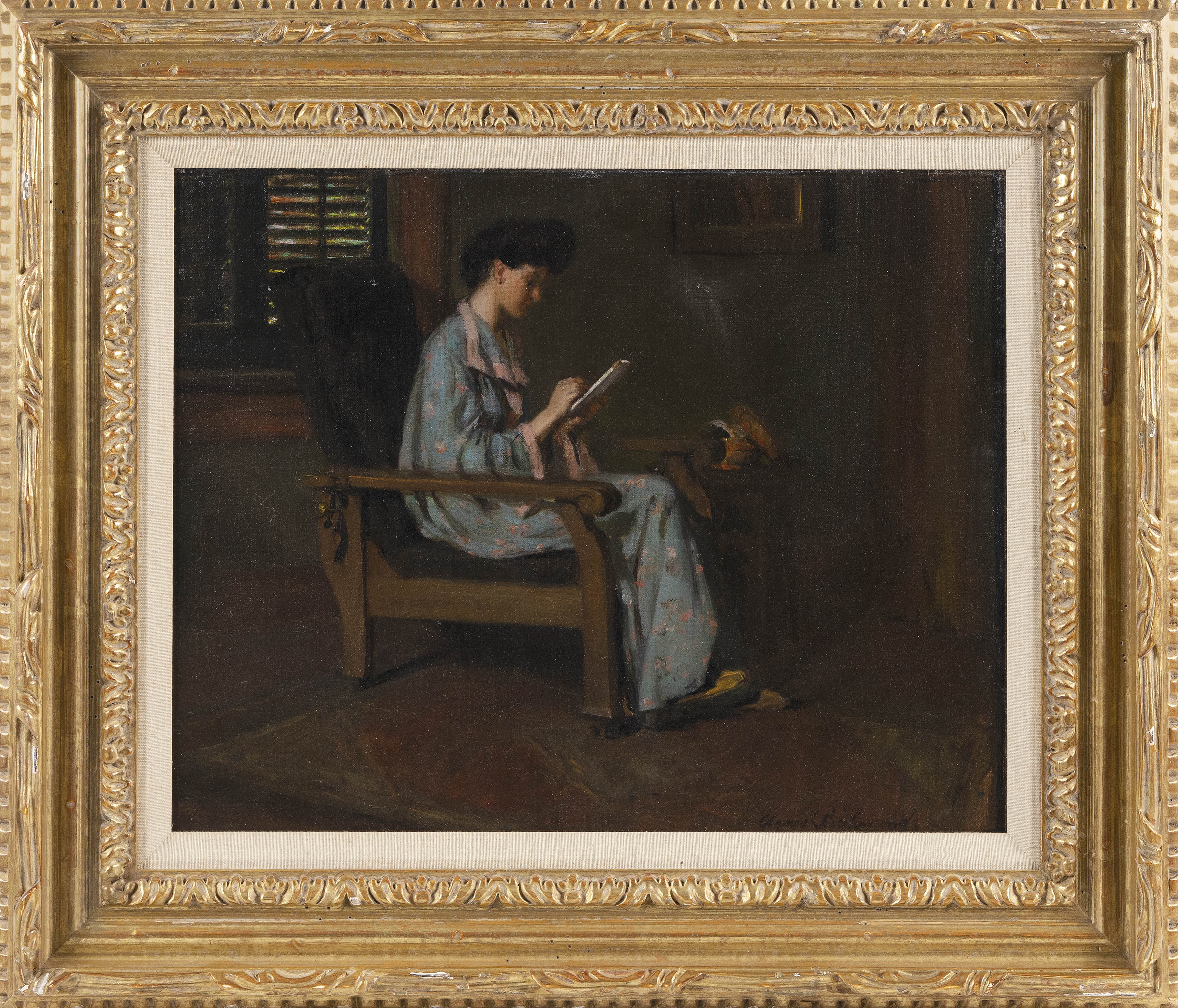 """AGNES RICHMOND (New York/Illinois, 1870-1964), """"A Young Lady Sketching, 1907""""., Oil on canvas, 16"""" x 20"""". Framed 23"""" x 27""""."""