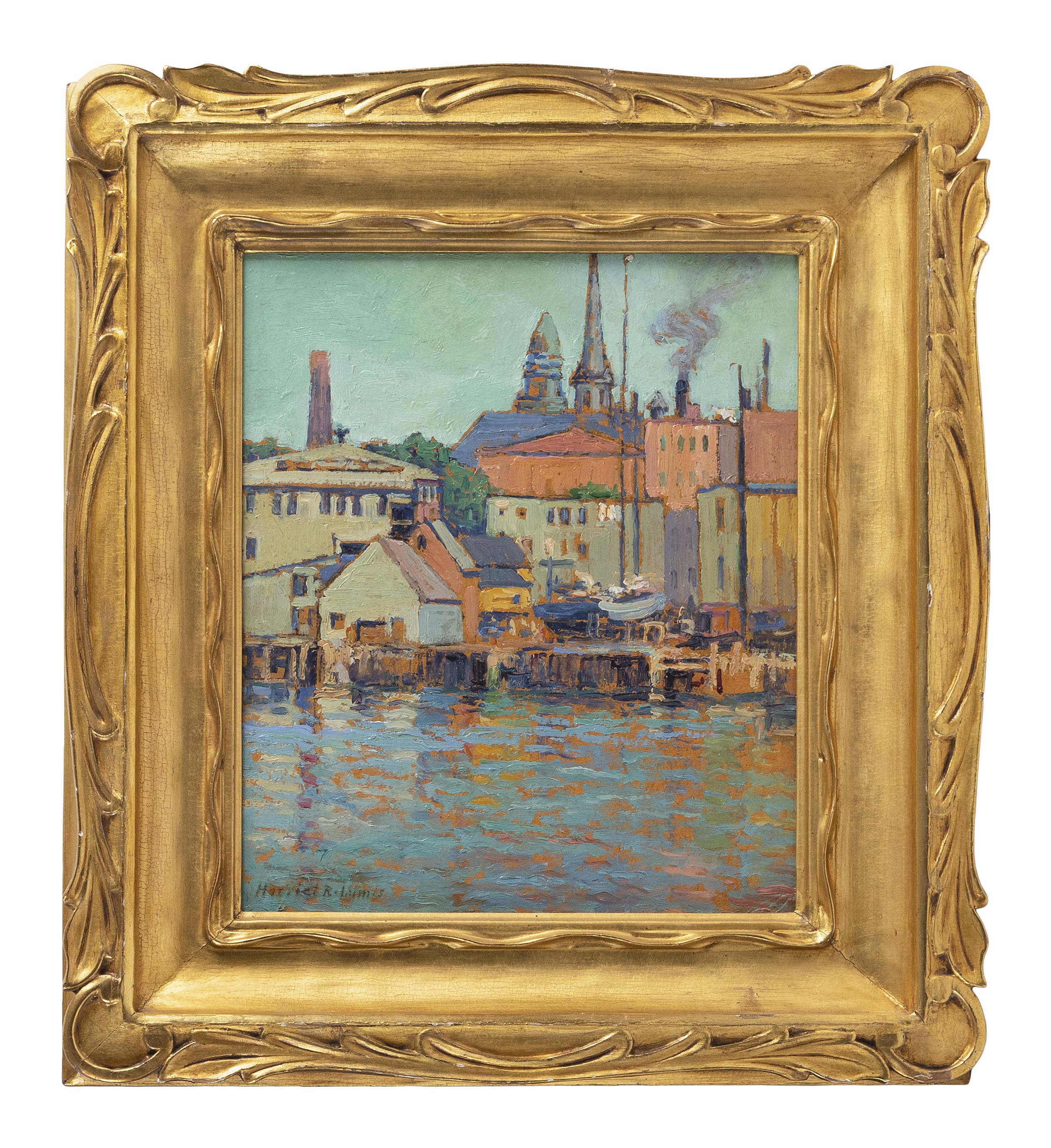 "HARRIET RANDALL LUMIS (Massachusetts/Connecticut, 1870-1953), ""Gloucester Wharf""., Oil on board, 12"" x 10"". Framed 17.5"" x 15.5""."