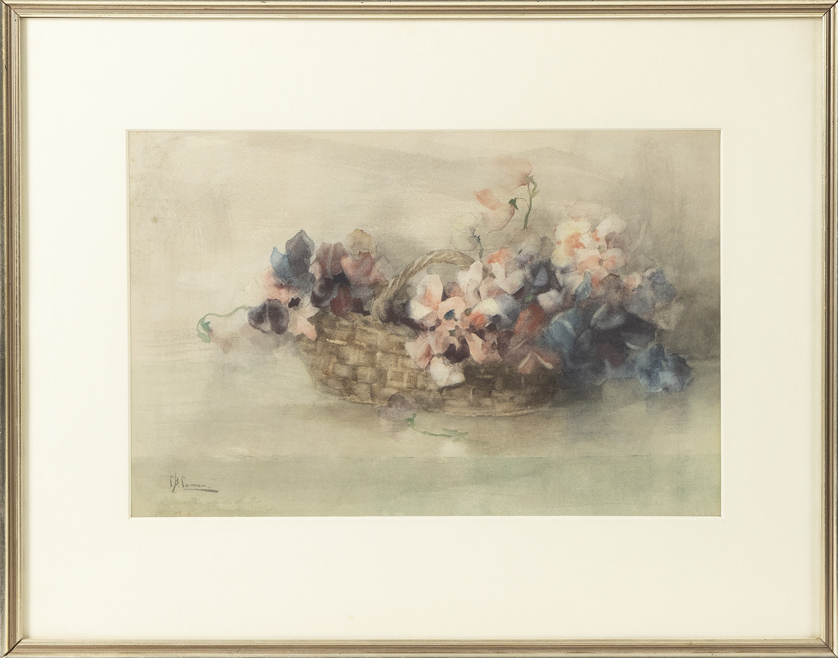 """CHARLOTTE BUELL COMAN (New York/Iowa, 1833-1924), Still life with flowers in a basket., Watercolor on paper, 10"""" x 16"""" sight. Framed 18"""" x 23""""."""