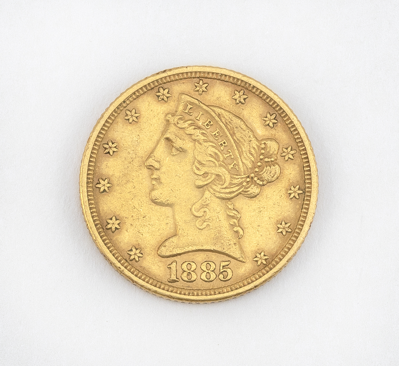 1885 LIBERTY HEAD US FIVE DOLLER GOLD COIN Approx. 5.35 dwt.