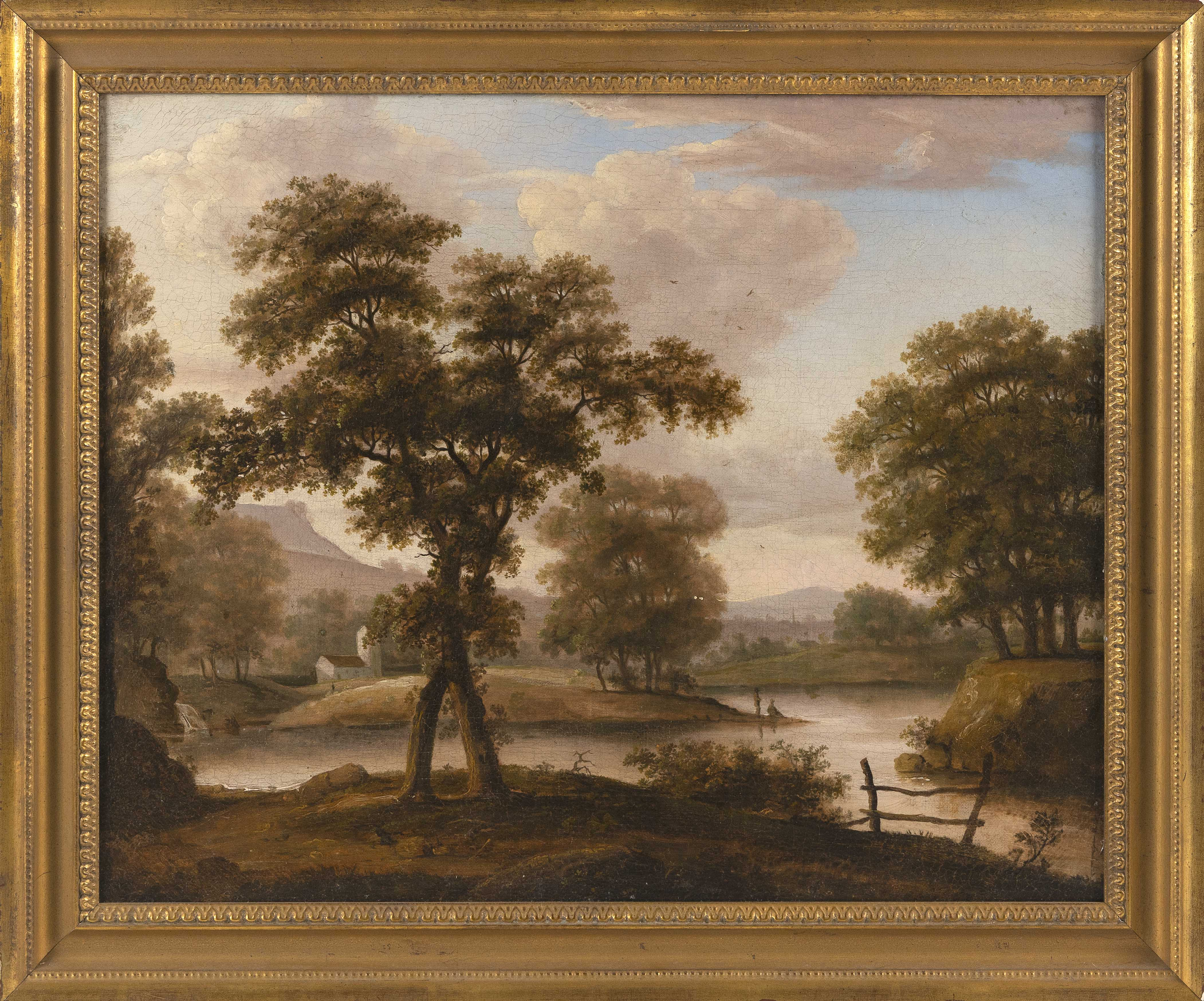 "JOHN SAMUEL BLUNT (New Hampshire/Massachusetts, 1798-1835), New England scenic landscape with travelers., Oil on canvas, 17"" x 21"". Framed 21.5"" x 24.5""."