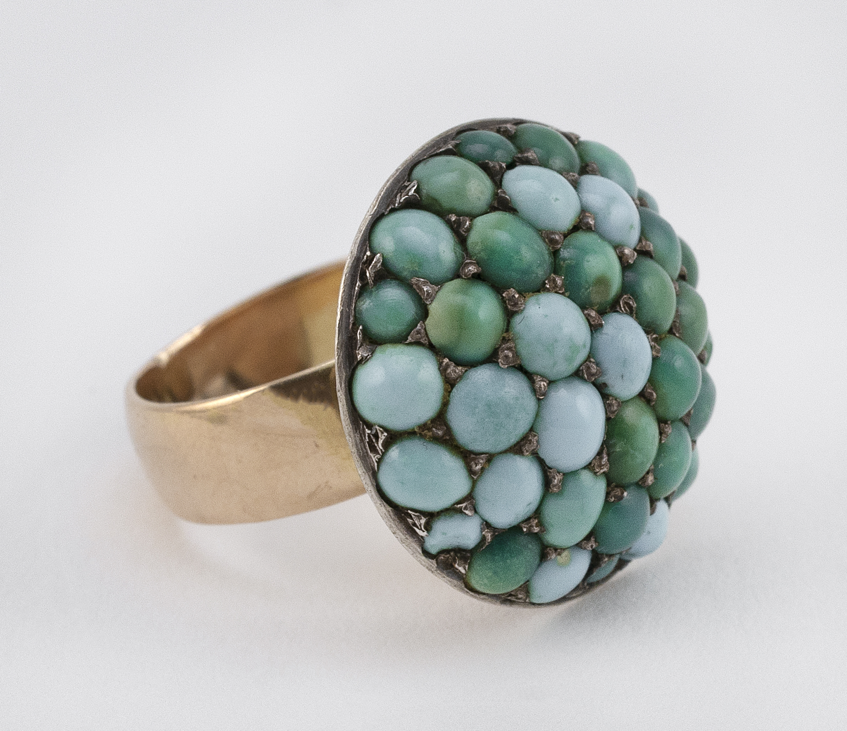 VICTORIAN TURQUOISE, SILVER AND GOLD RING
