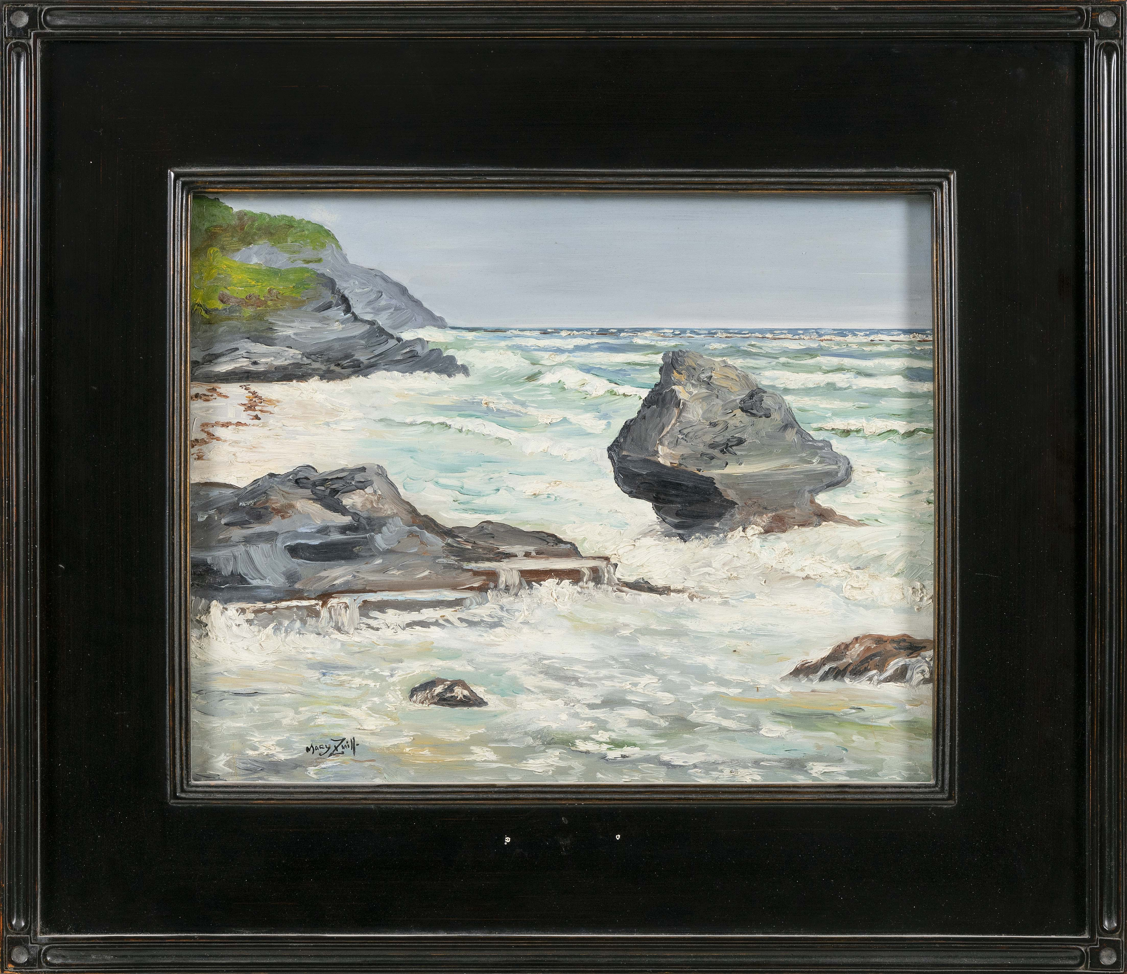 MARY ZUILL (Bermuda, 1916-1971), Rocky coastal scene., Oil on board, 16
