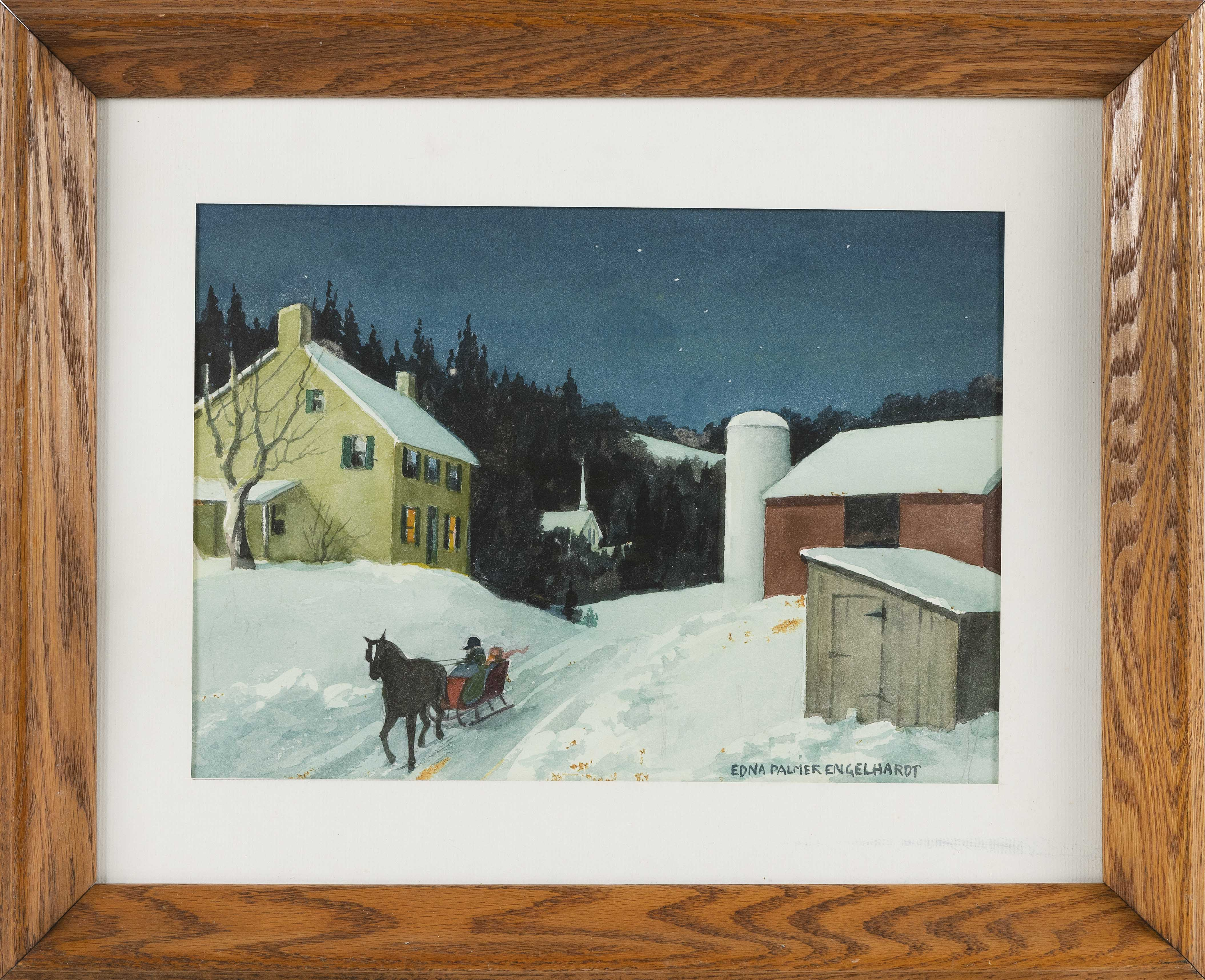EDNA PALMER ENGELHARDT (New Jersey, 1897-1991), Sleigh ride though a winter town., Watercolor on paper, 10
