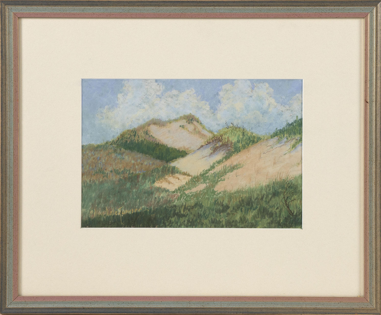 """ALLEN DELETORRIER (20th Century,), Cape Cod dune scene., Pastel on paper, 8"""" x 12"""". Framed 17"""" x 20.5""""."""