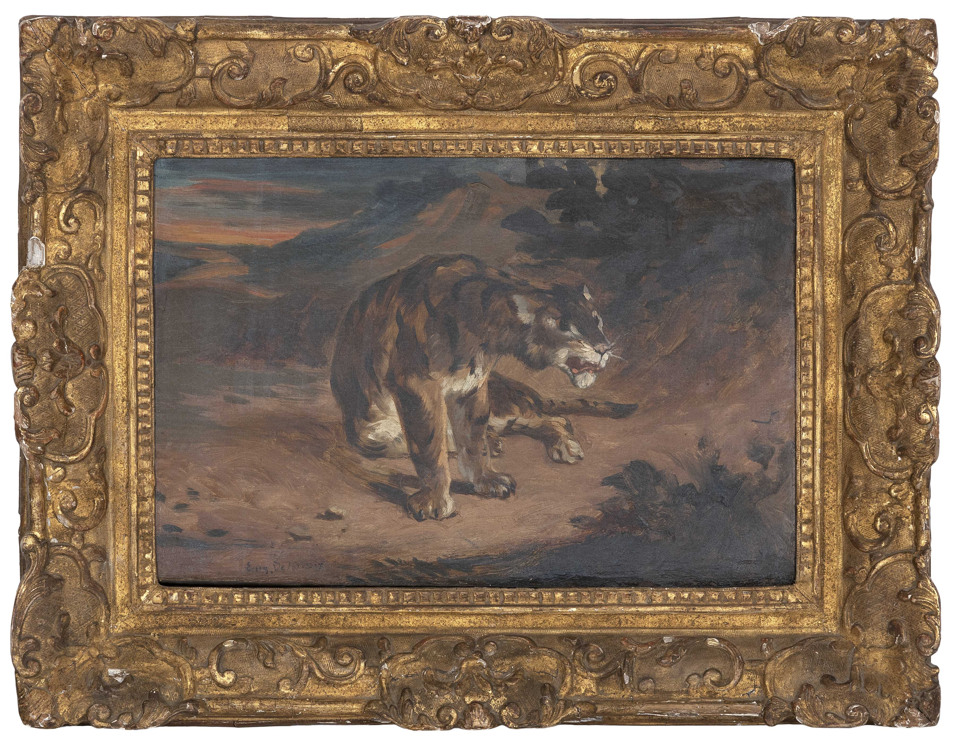 MANNER OF EUGENE DELACROIX (19th Century,), A seated lion., Oil on canvas, 10.5