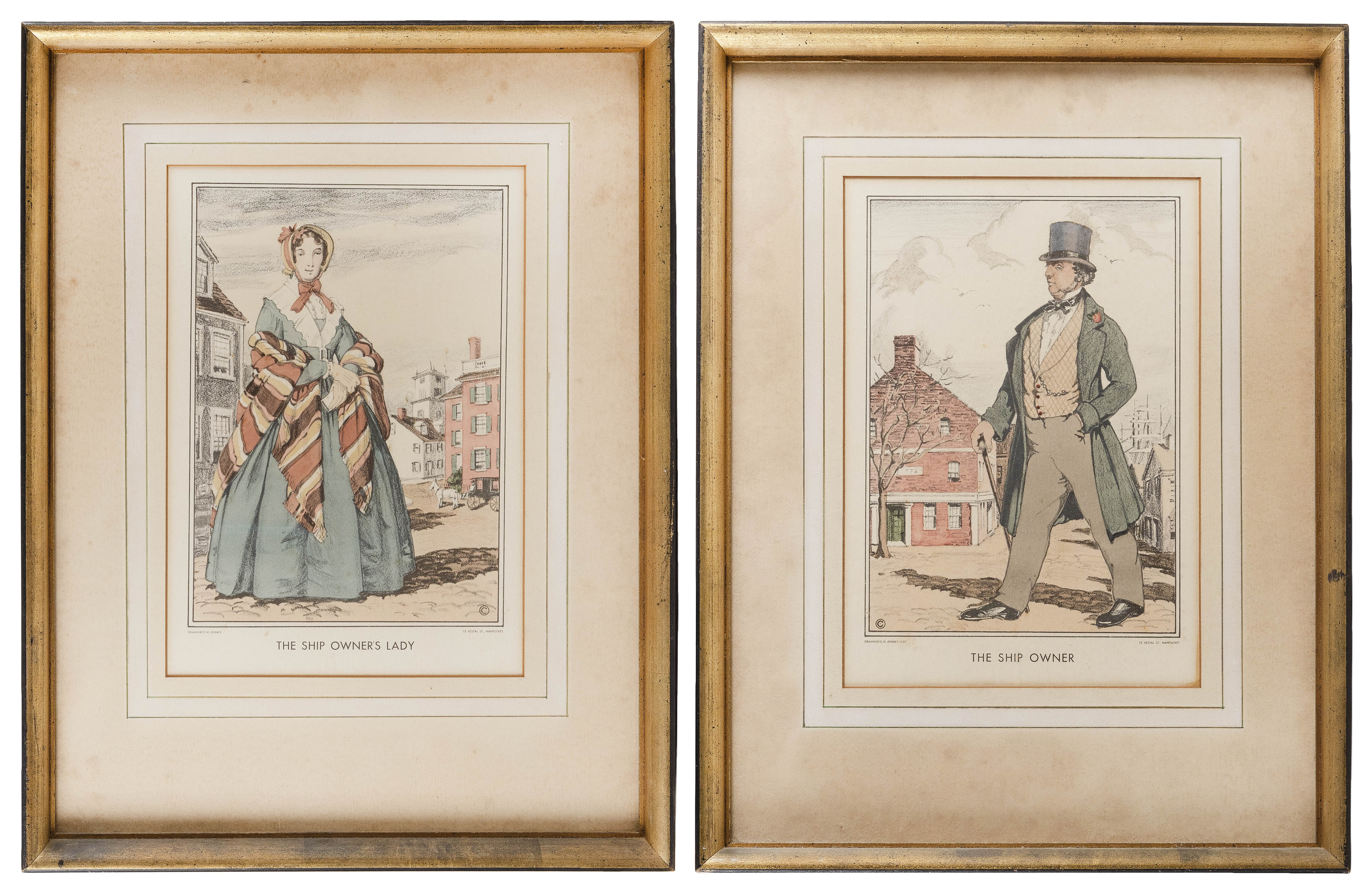 """EDGAR W. JENNY (Nantucket, Early 20th Century), """"The Ship Owner"""" and """"The Ship Owners Lady""""., Hand-colored lithographs on paper, 12.5"""