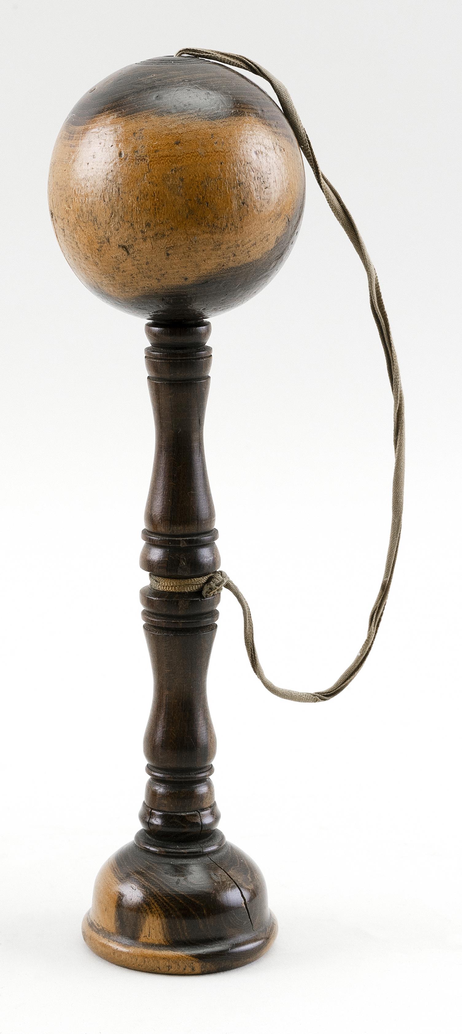 """ENGLISH LIGNUM VITAE BILBOQUET 19th Century Height 8.75""""."""