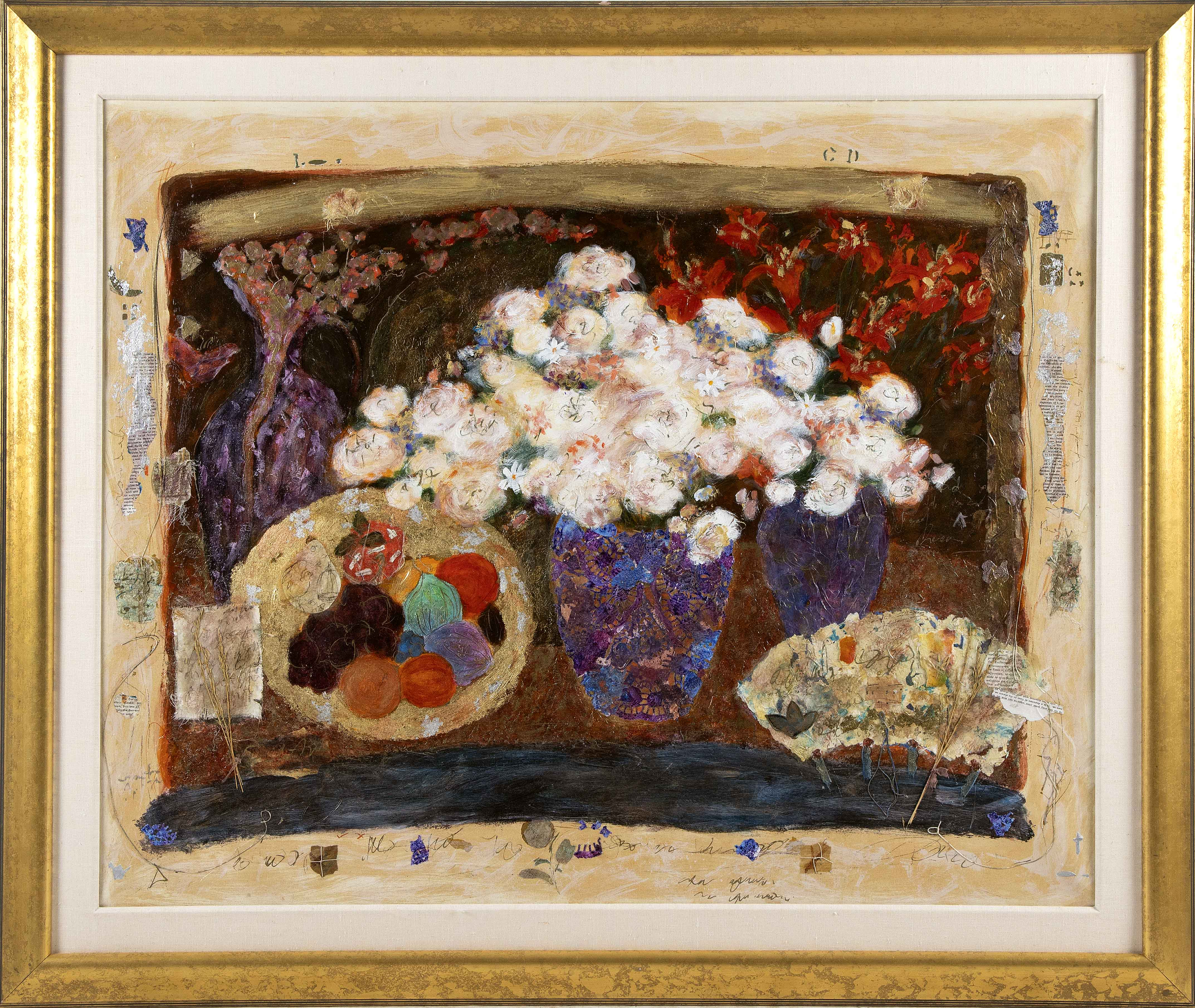 "ROY FAIRCHILD-WOODWARD (United Kingdom, Born 1953), Mixed media collage still life on canvas., 33"" x 41"". Framed 41"" x 49""."